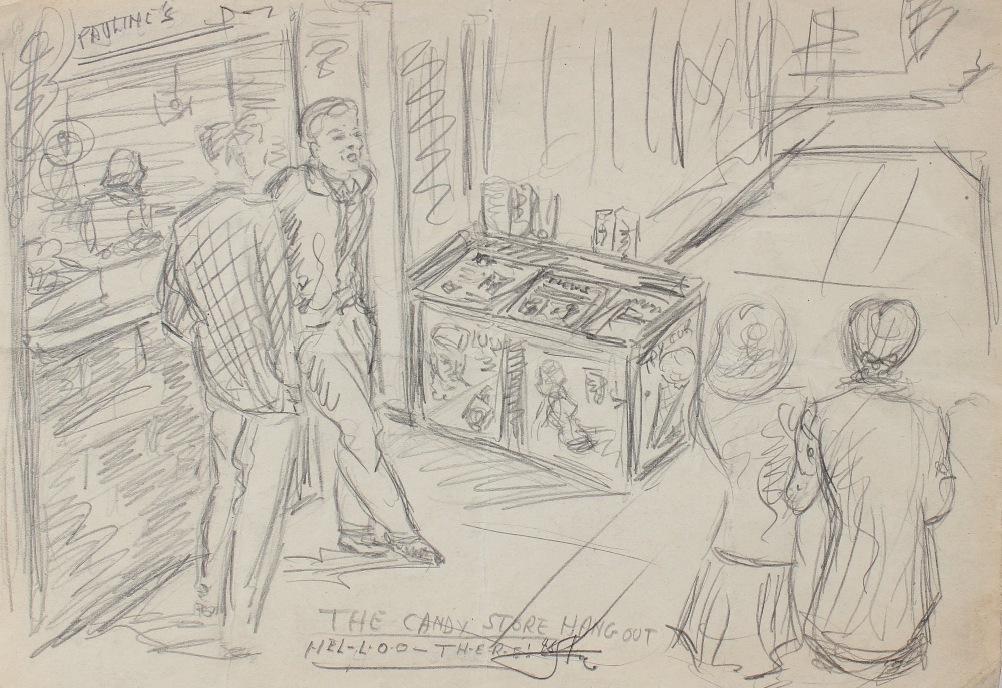 <i>The Candy Store Hang Out</i> <br>1948 Graphite <br><br>#95062