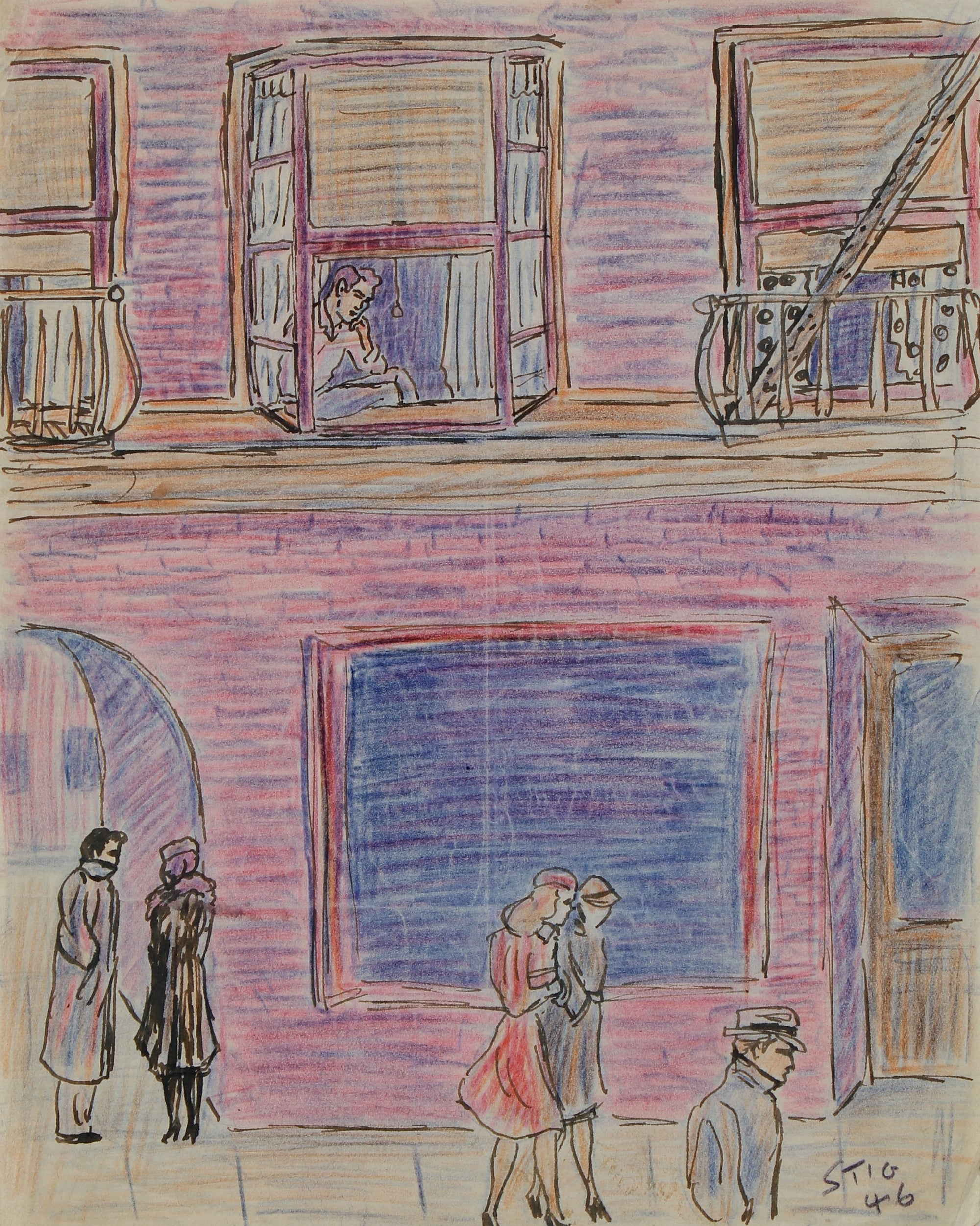 New York City People Scene <br>1946 Ink & Colored Pencil <br><br>#95079