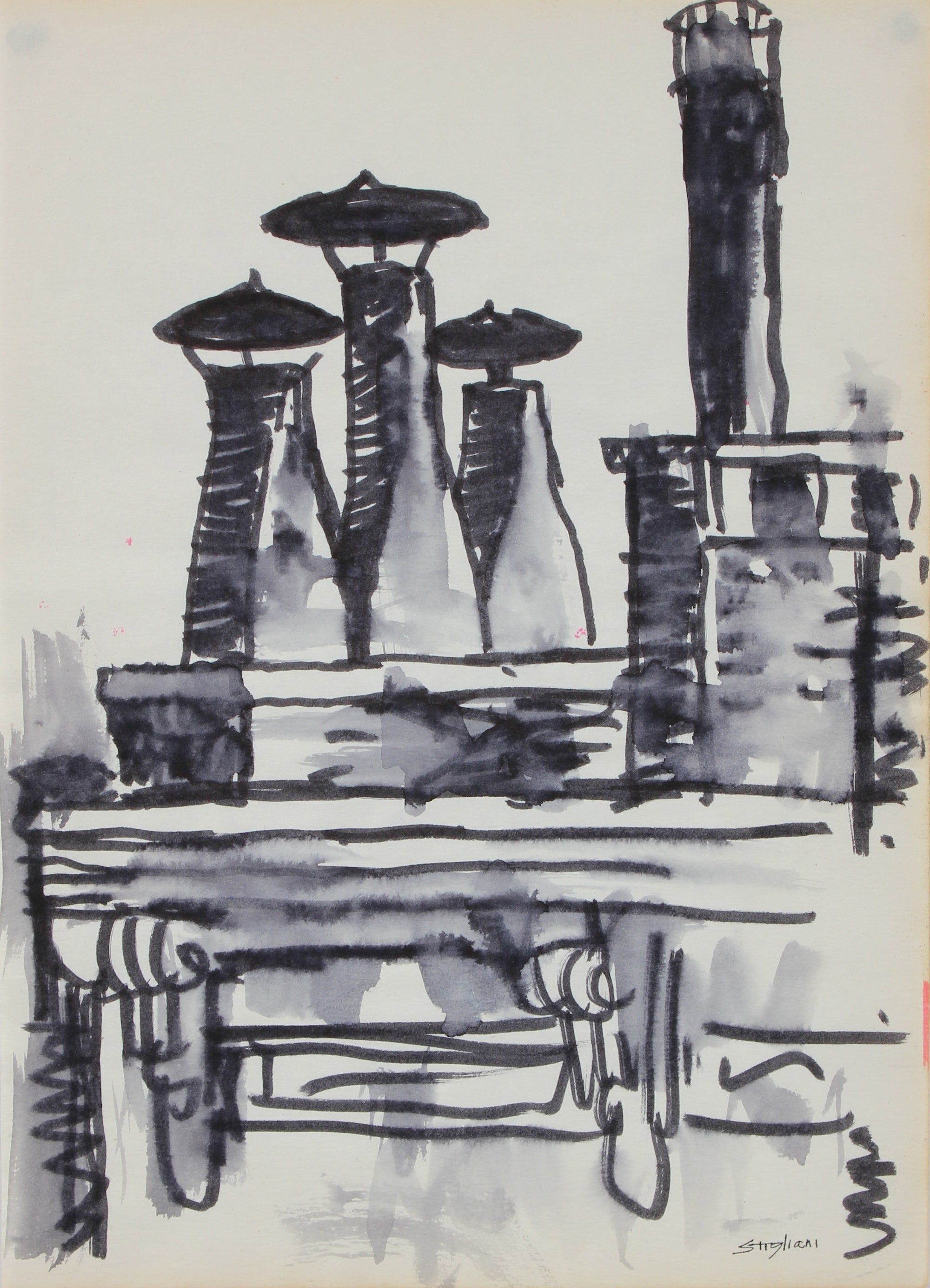 Modernist Urban Scene <br>Mid-Late 20th Century Ink on Paper <br><br>#95082