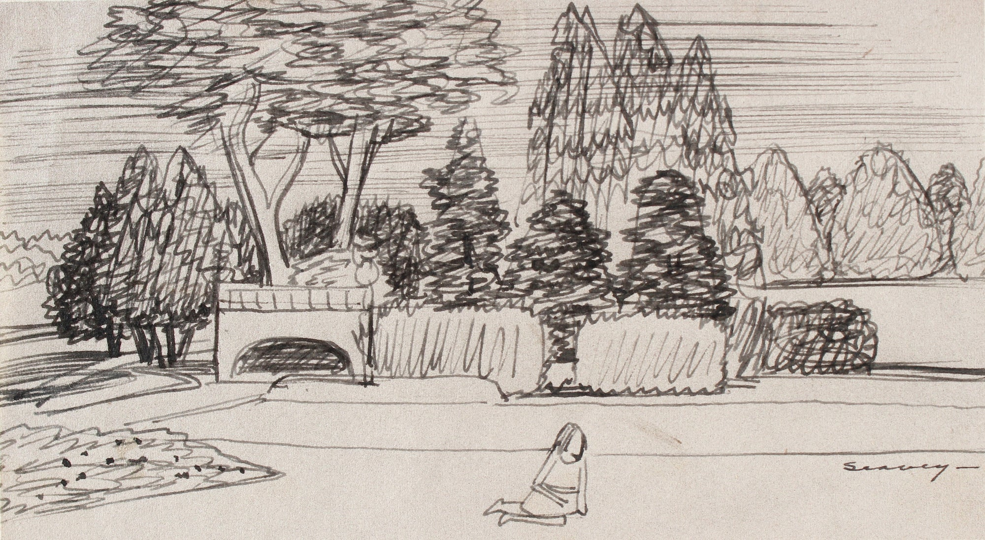 San Francisco Park Scene <br>1938-40 Ink <br><br>#9547