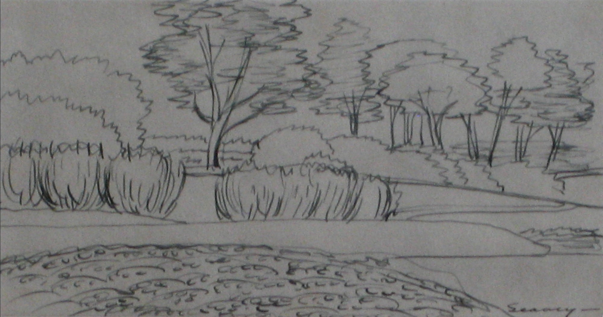 Petit Countryside Scene with Trees <br>1938-40 Ink <br><br>#9550