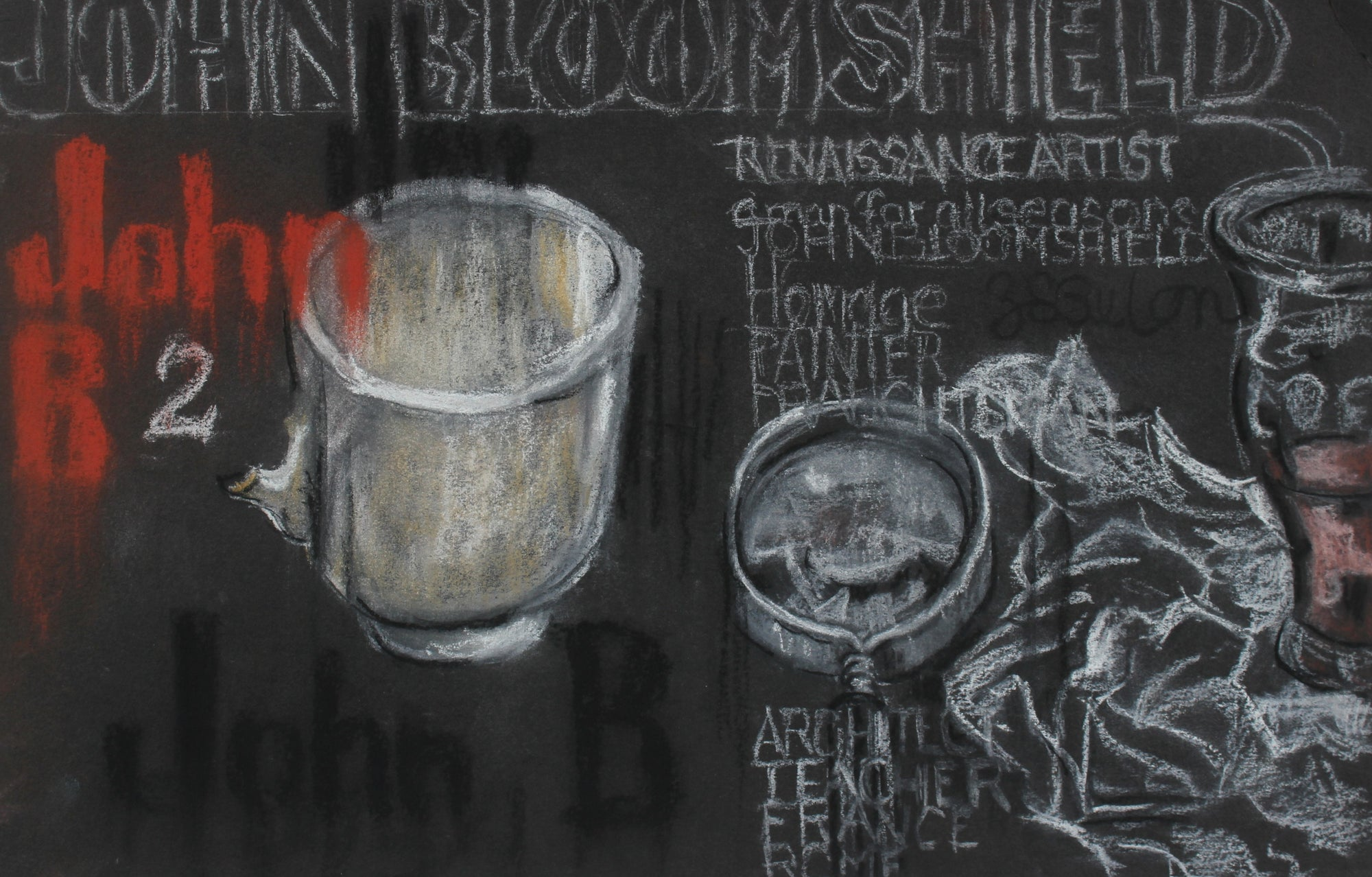 Still Life with Text <br>Mid-Late 20th Century Charcoal and Pastel <br><br>#95855