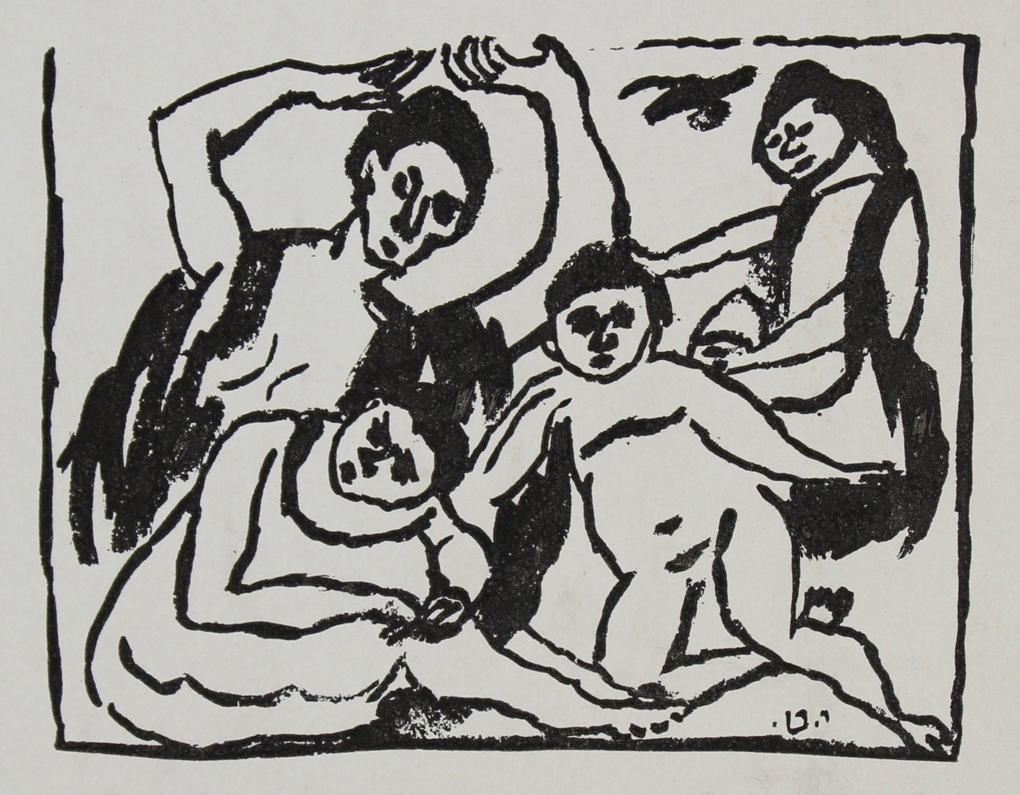 Abstracted Figure Scene of Family <br>Early-Mid 20th Century Mimeograph on Paper <br><br>#95879