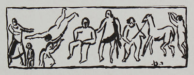 Expressionist Figures Scene with Horse <br>Early 20th Century Mimeograph <br><br>#95880