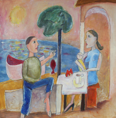 Modernist Family by the Sea<br>Late 20th Century Oil<br><br>#95906