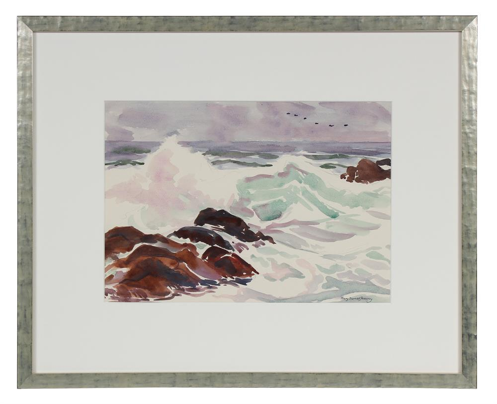 Rocky Coastal Waves<br>Mid - Late 20th Century Watercolor<br><br>#72050