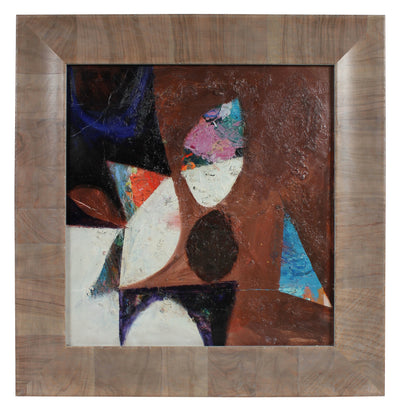 Textured Neutral-Toned Abstract<br>Late 1950s Oil<br><br>#96594