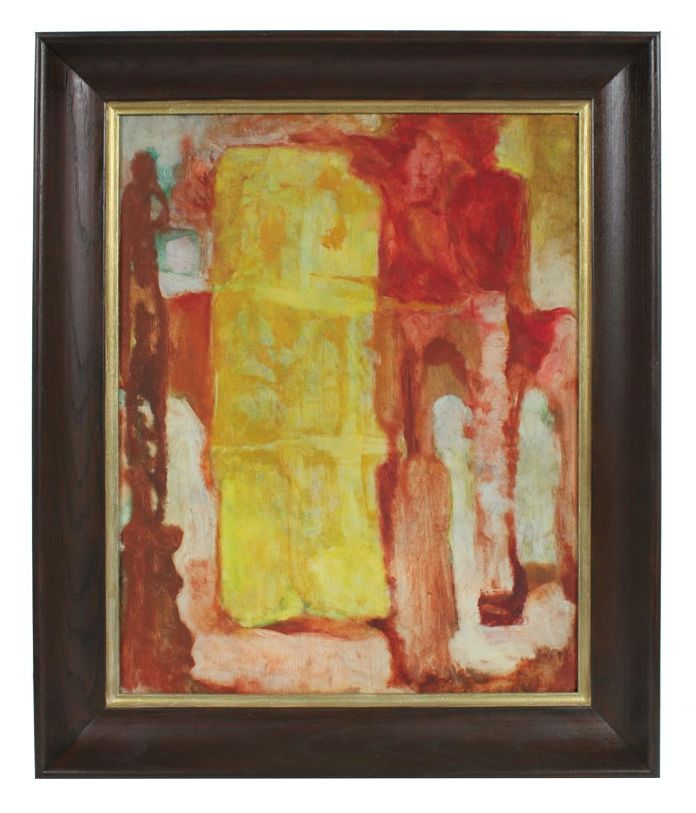 Fiery Abstracted Buildings<br>Late 1950s Oil<br><br>#96614