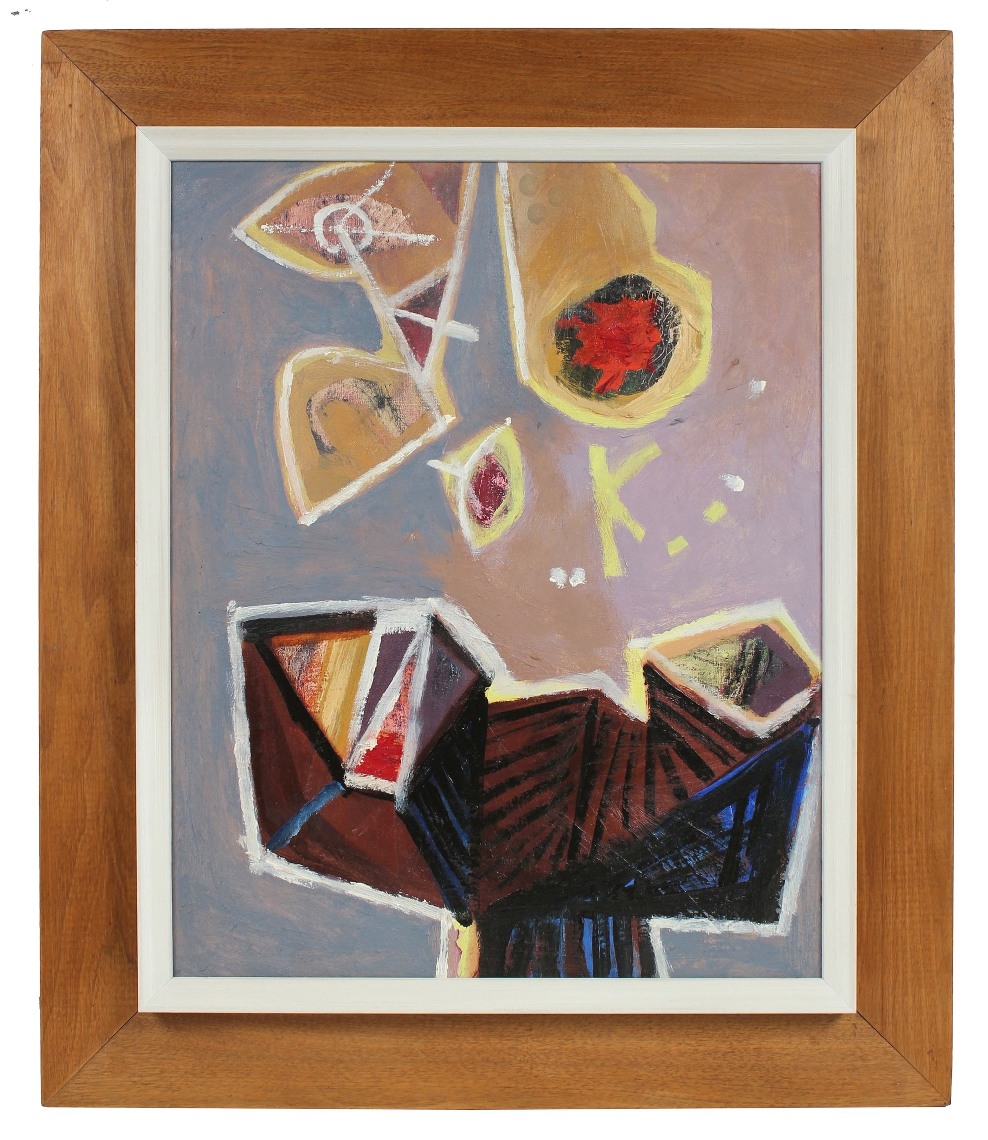 Modernist Deconstructed Still Life <br>Late 1950s Oil <br><br>#96622