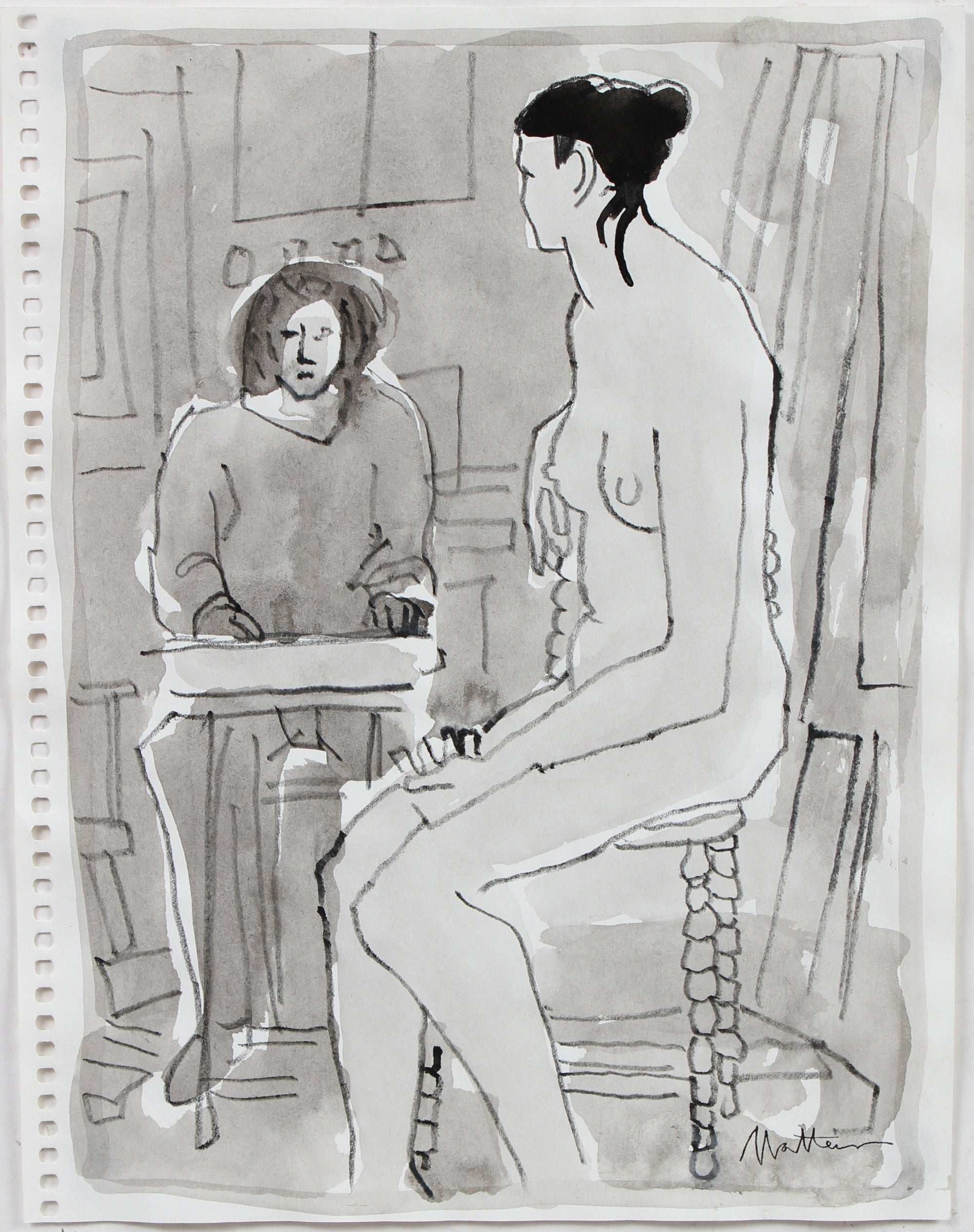 Nude Model & Student <br>20th Century Ink Wash & Colored Pencil <br><br>#96677
