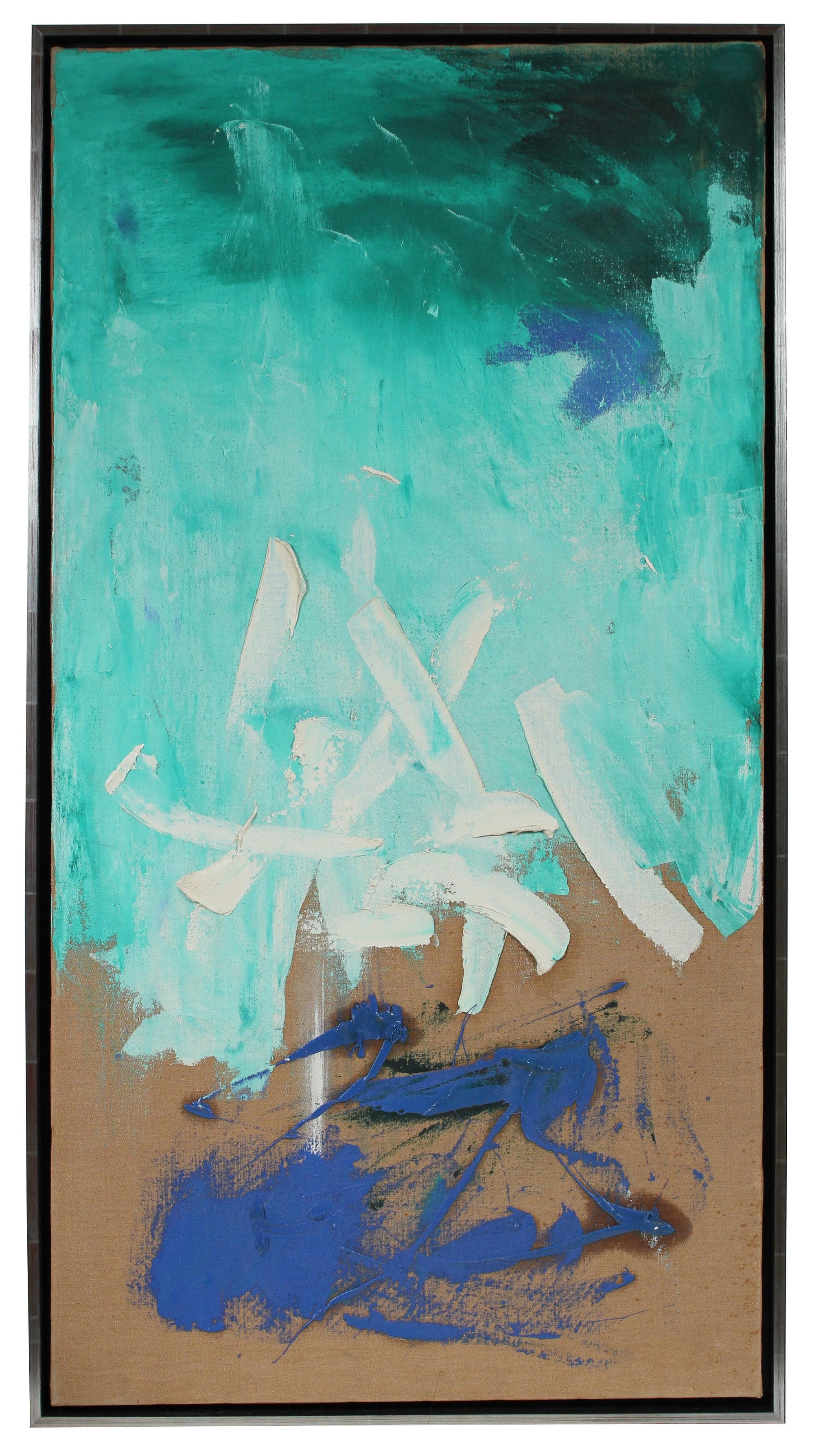 Modernist Abstract in Blue<br>Late 1950s Oil<br><br>#96691
