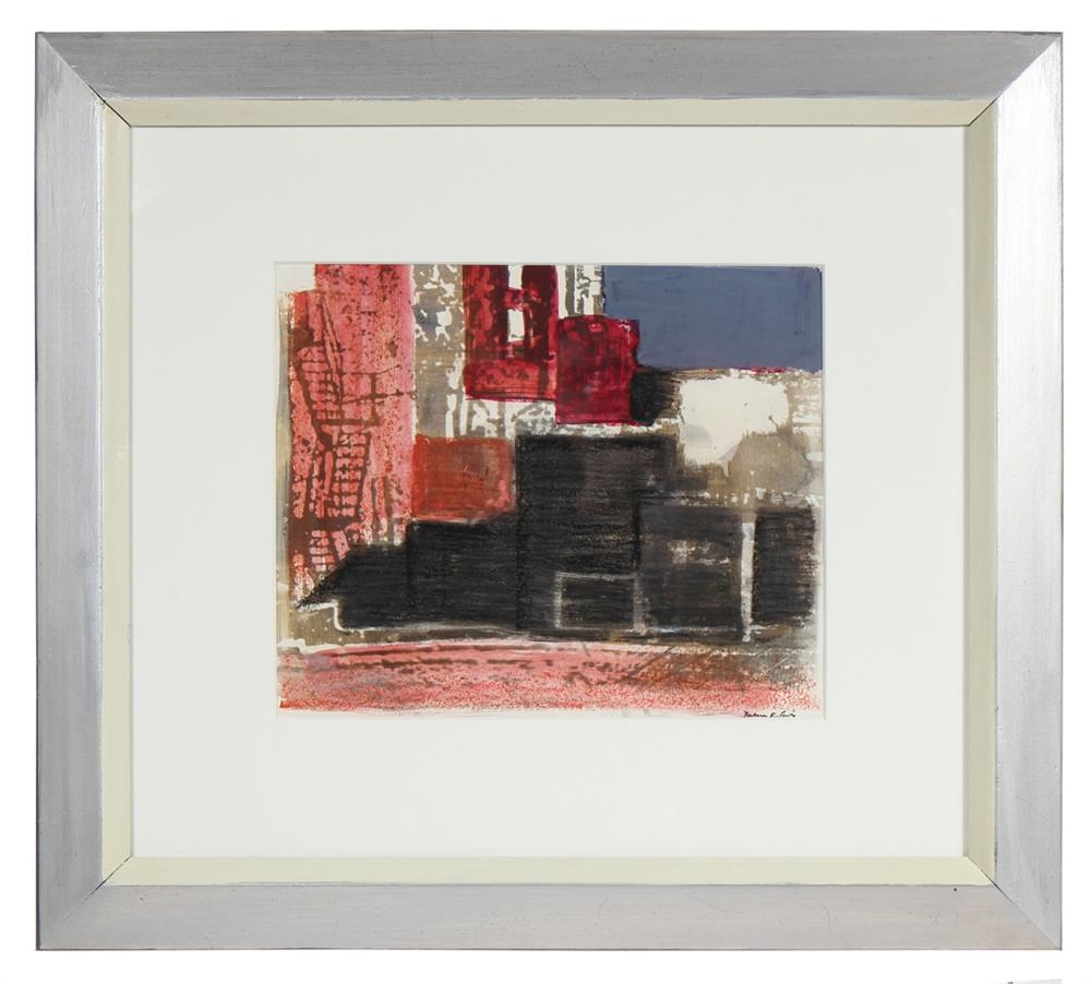 Layered Abstracted Cityscape<br>1971 Lithograph<br><br>#72111