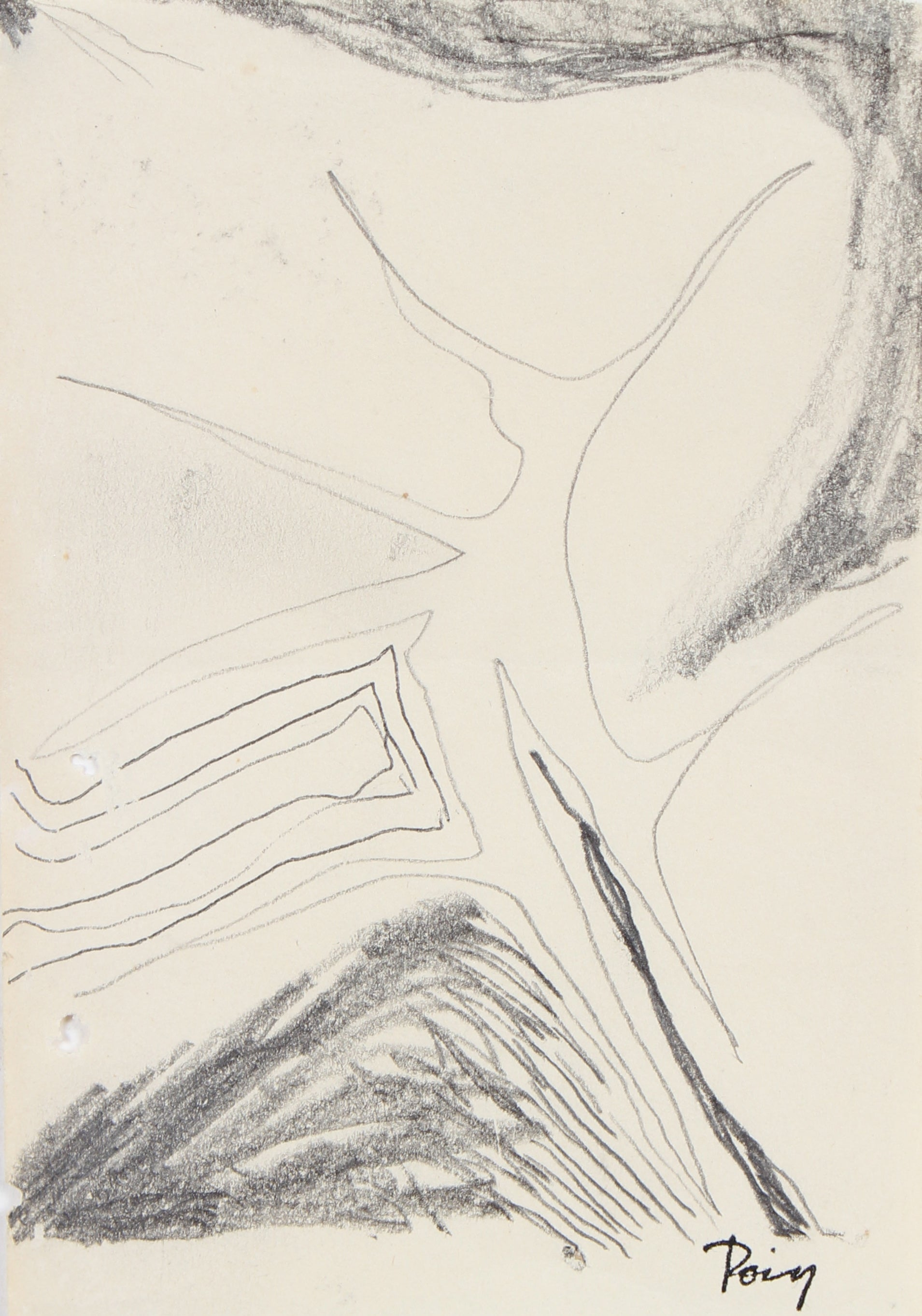 Modernist Gestural Drawing <br>Late 1960s Graphite <br><br>#96850