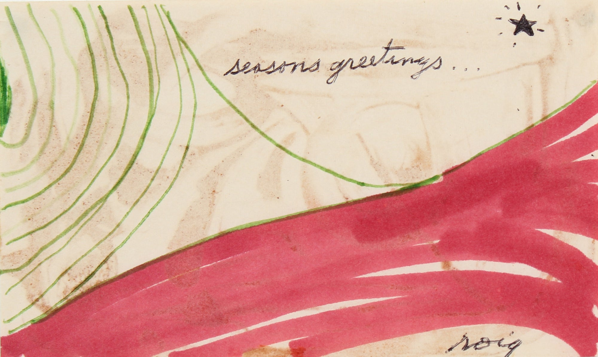<i>Seasons Greetings</i> <br>Late 1960s Ink <br><br>#96851