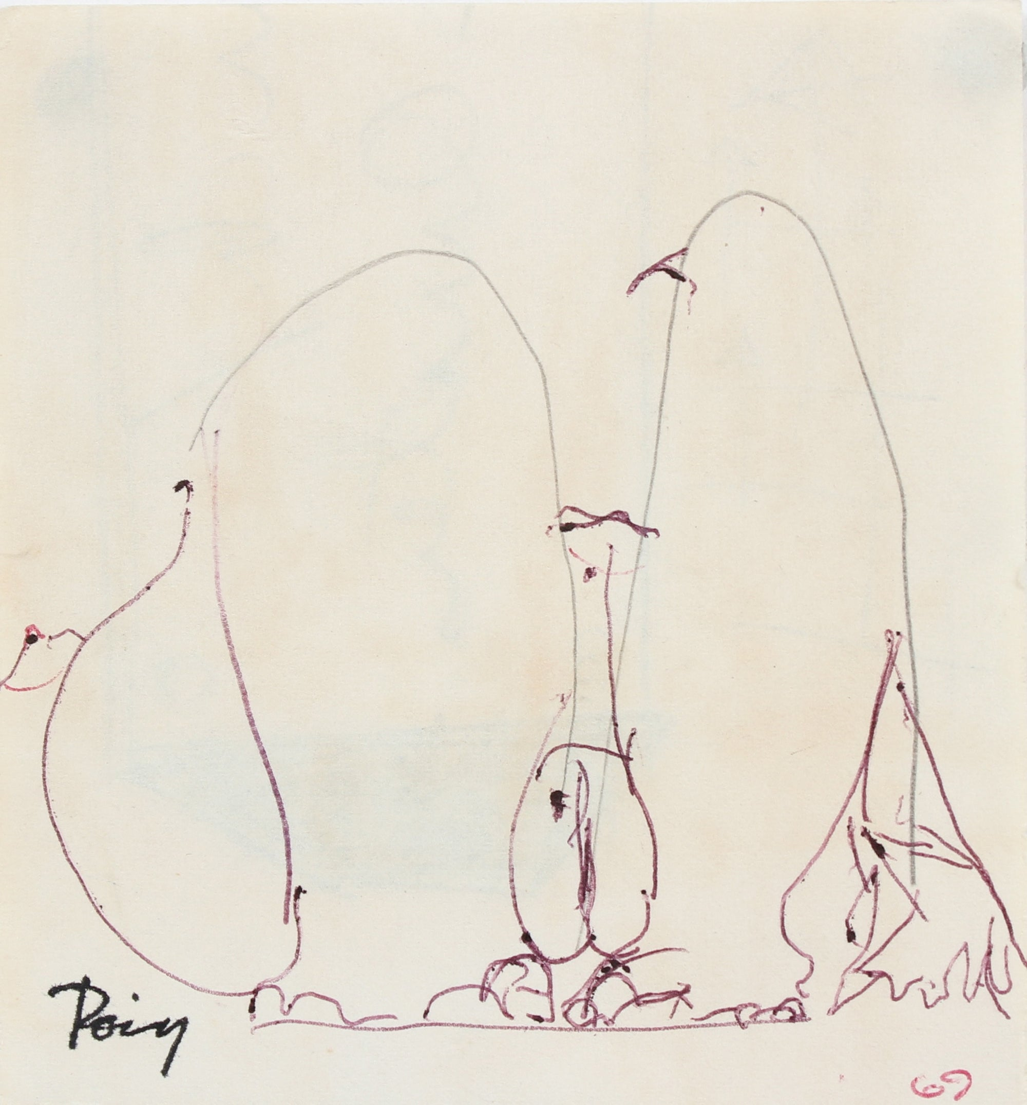 Penguin Figure Deconstruction <br>1969 Ink & Graphite <br><br>#96863