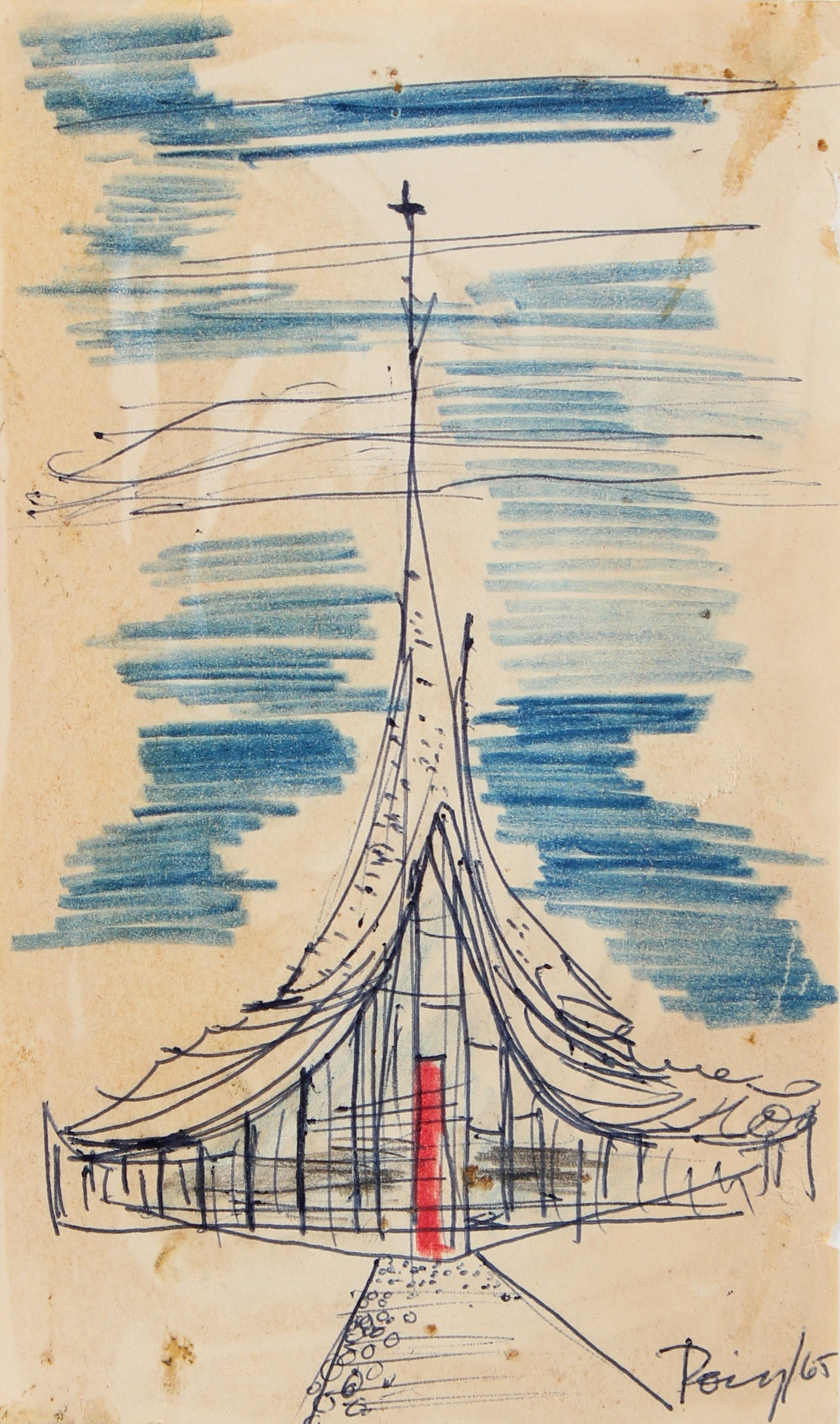 <i>Church VI</i><br>1965 Ink & Colored Pencil<br><br>#96867