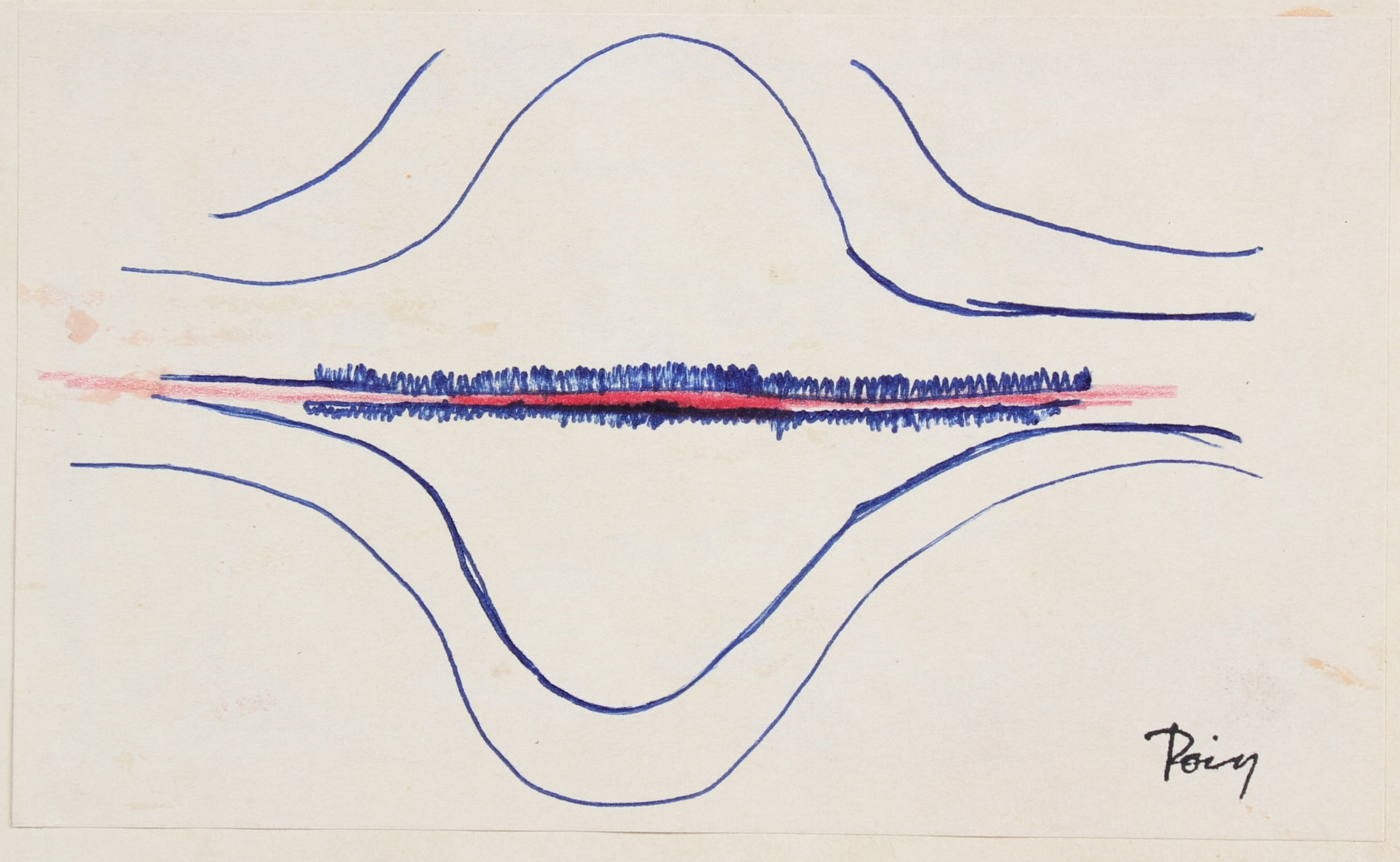Modernist Wave Abstract<br>Late 1960s Ink<br><br>#96875
