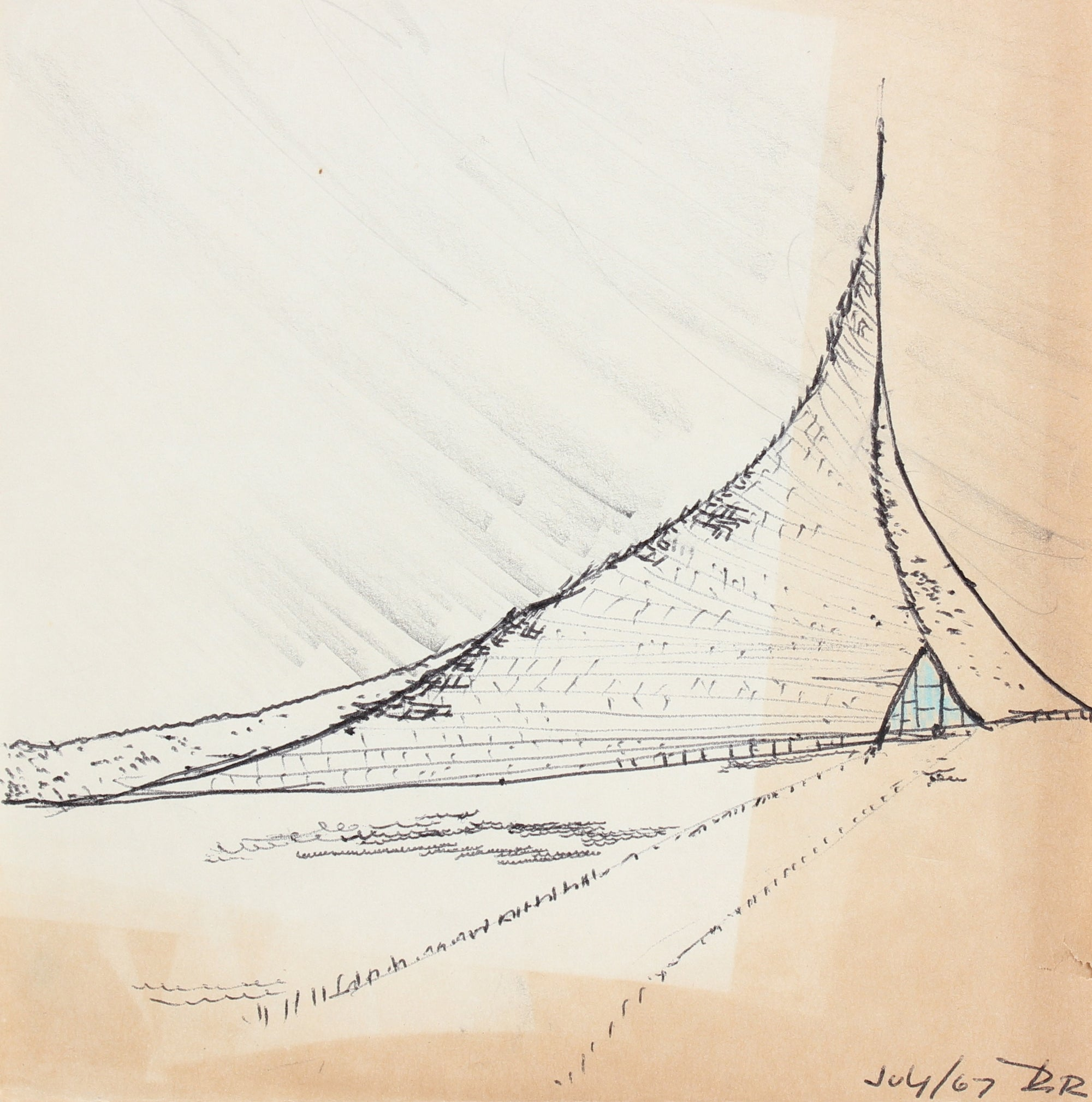 Surreal Landscape & Structure<br>July 1967 Ink & Graphite<br><br>#96877