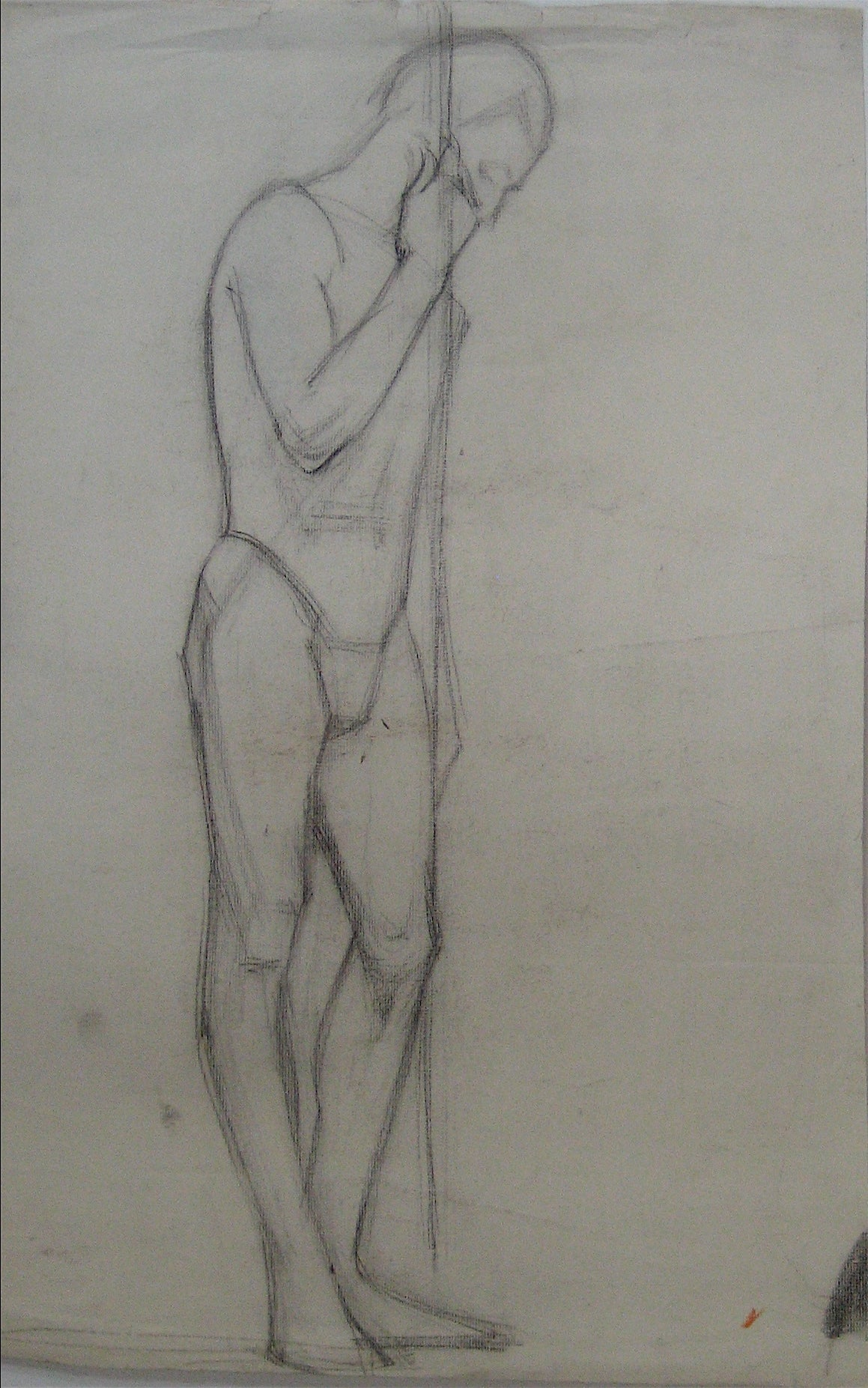 Male Nude With Staff Study <br>1920s-1930s Charcoal <br><br>#9736