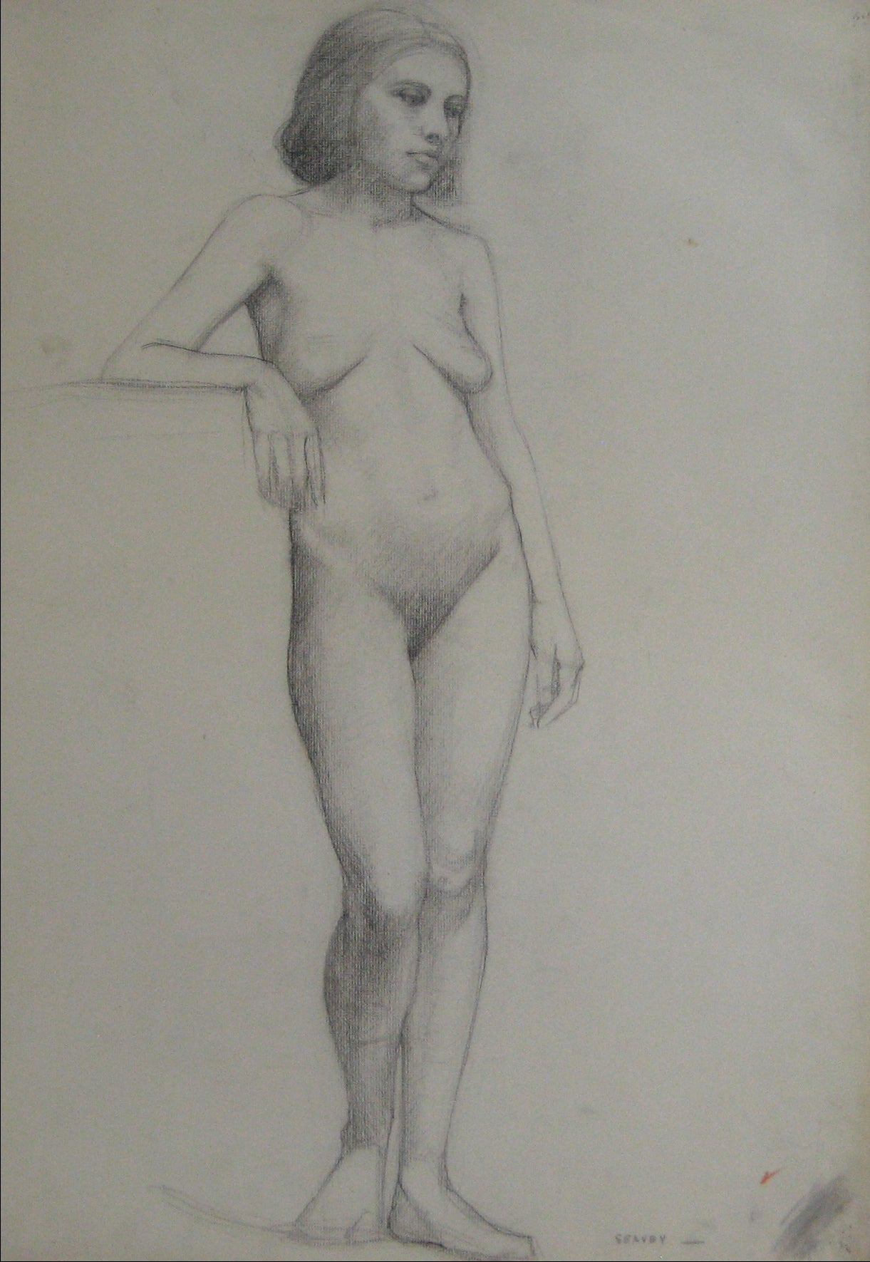 Subtle Study Of A Female Nude <br>1920s-1930s Charcoal <br><br>#9738