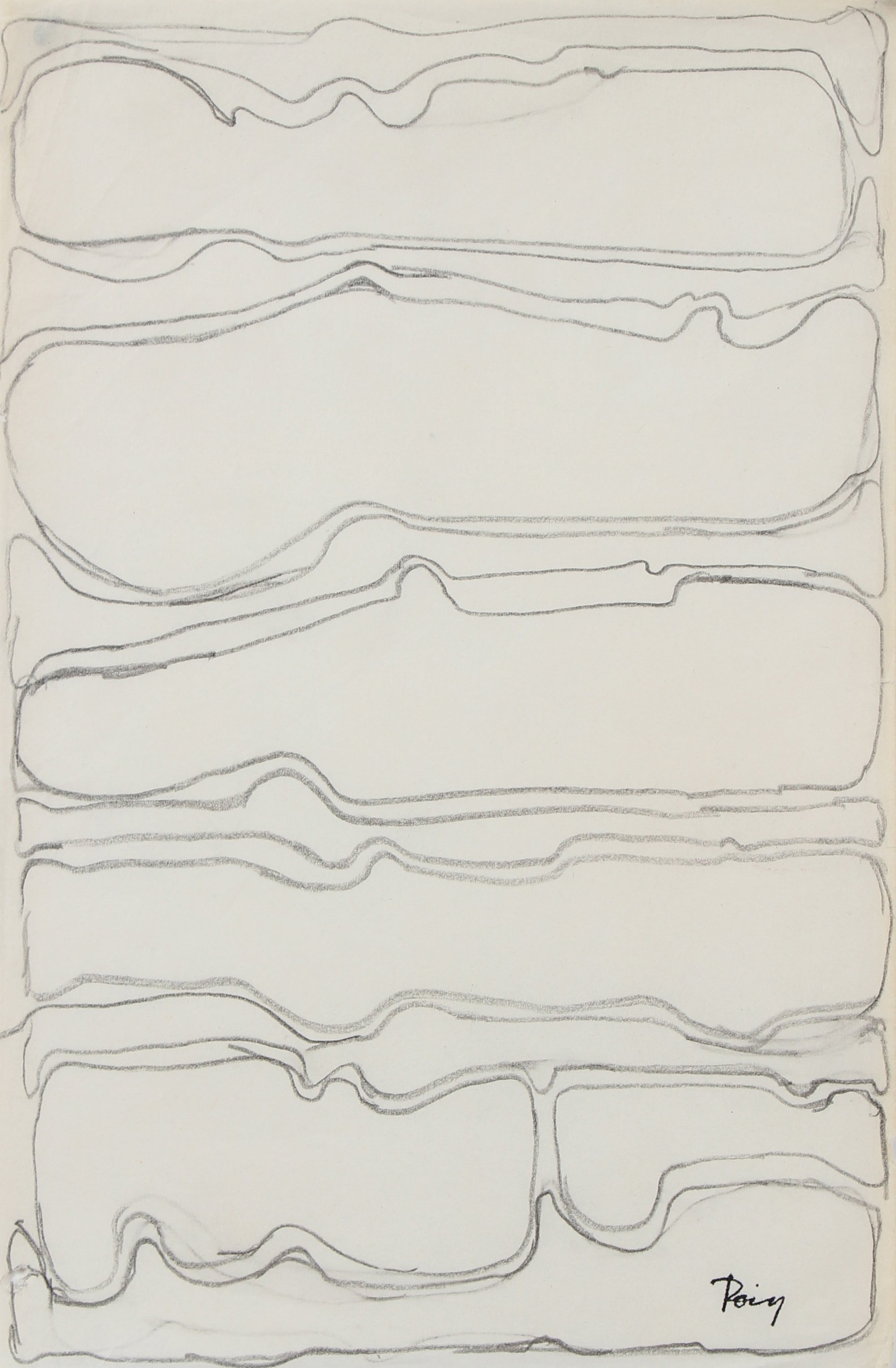 Stacked Abstract Lines <br>1960s Graphite <br><br>#97736