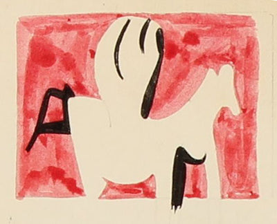 Surreal Figure on Horse<br>Mid Century Drawing<br><br>#97837