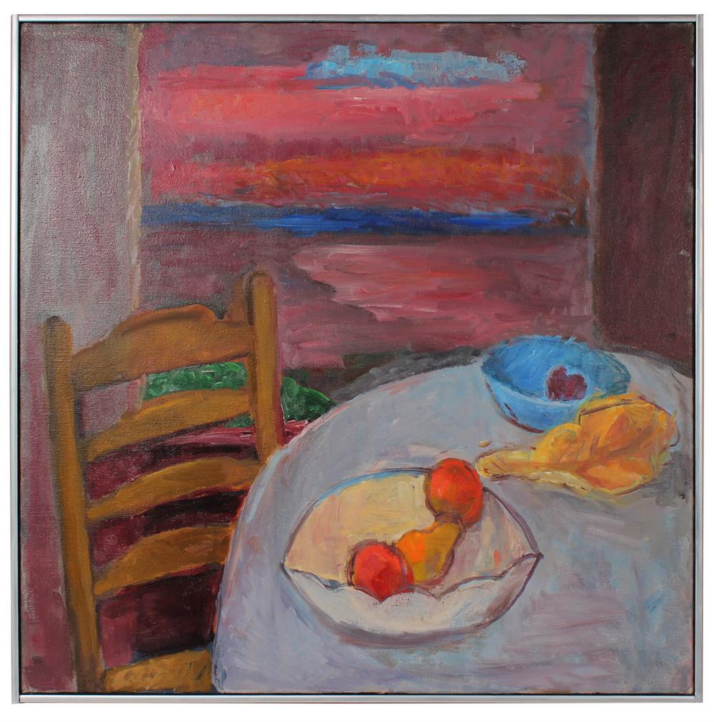 Modernist Still Life with Sunset<br>Late 20th Century Oil<br><br>#89882