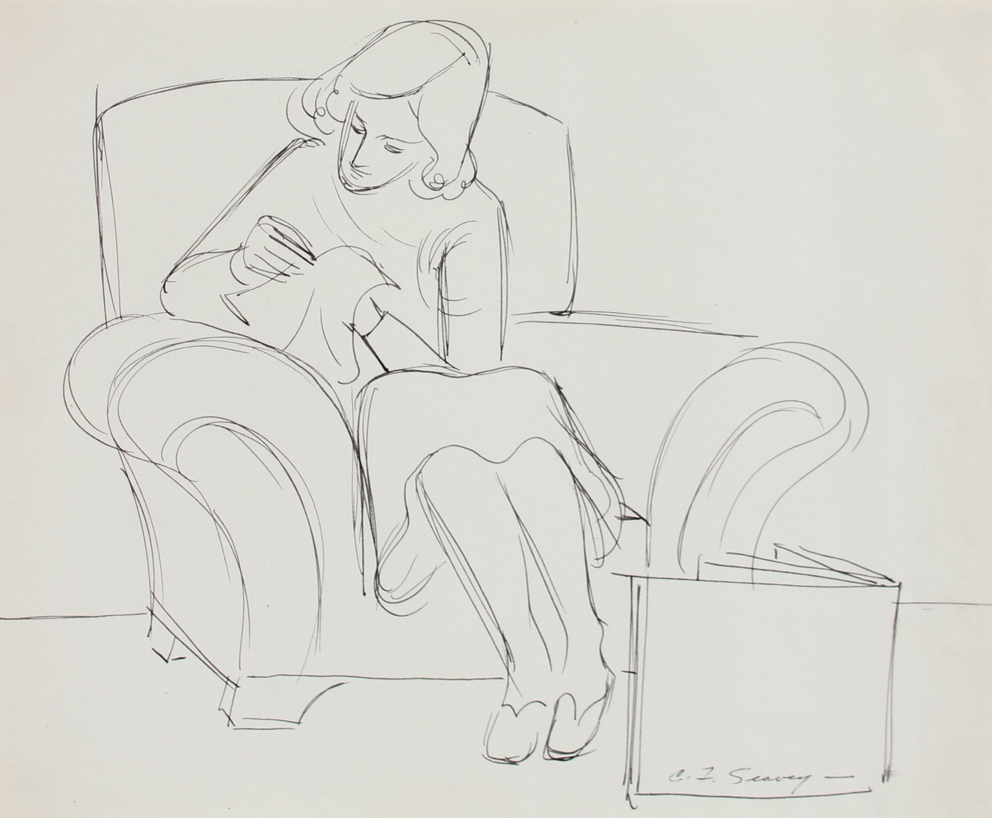 Illustration of a Woman Sewing <br>1930-40s Ink <br><br>#0033