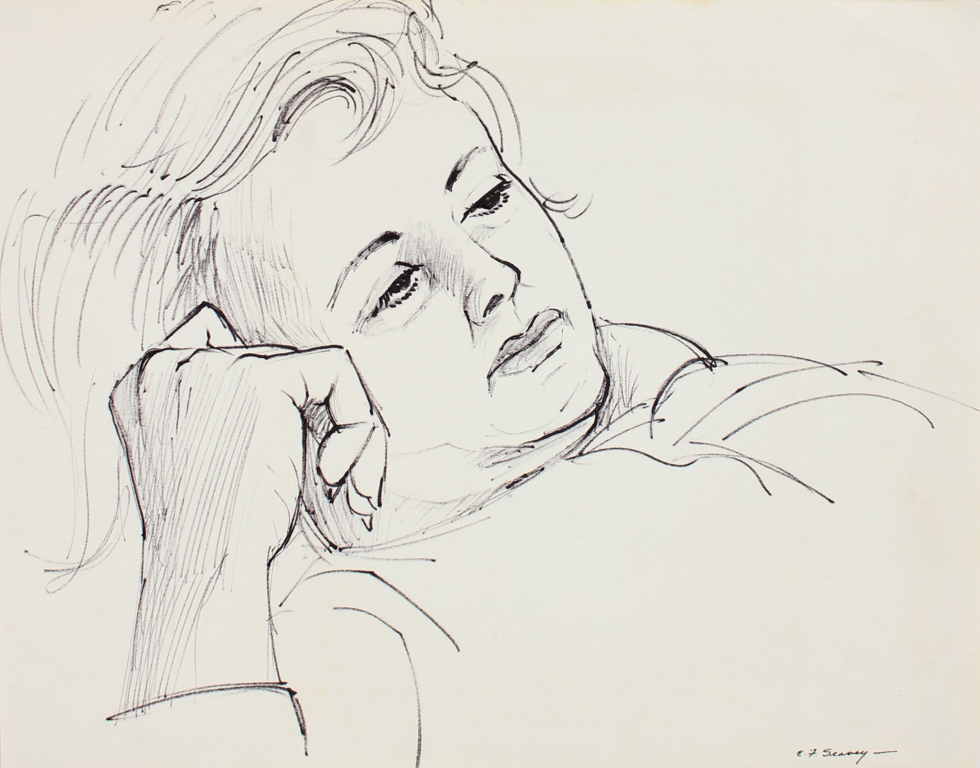 Deep Contemplation <br>1930-40s Ink <br><br>#0016