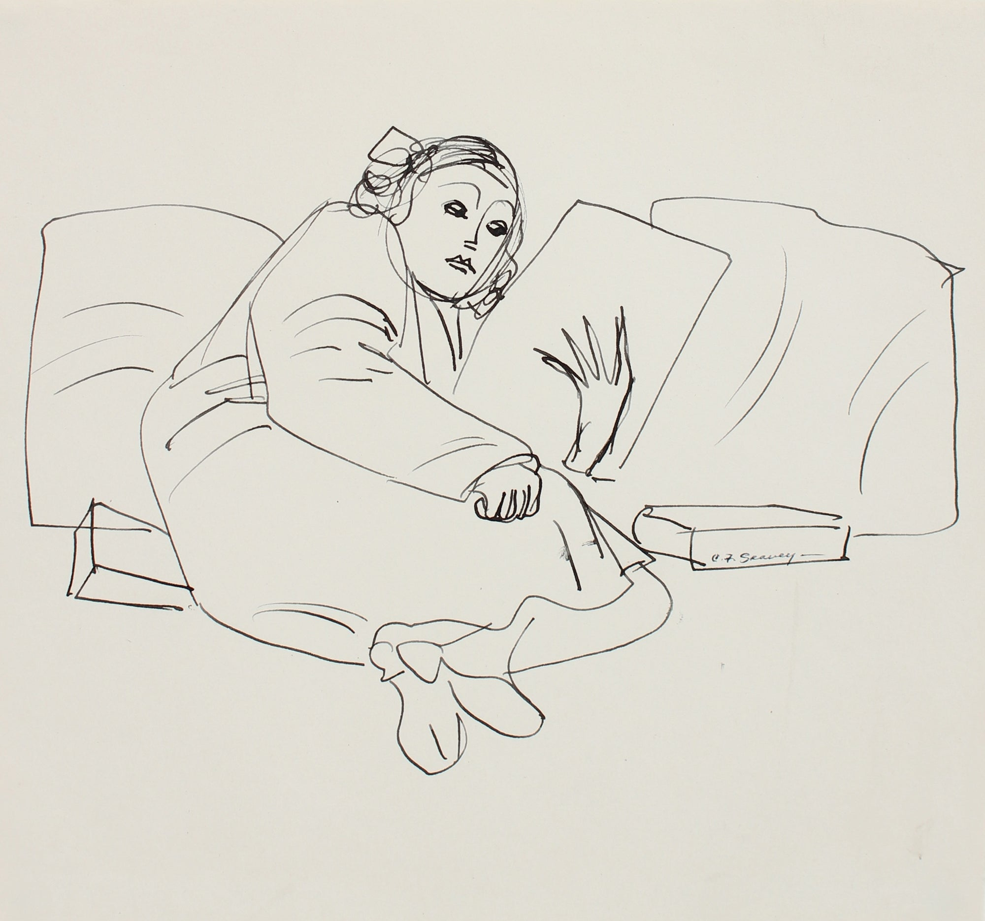 Lounging Woman Reading <br>1930s Ink <br><br>#0050