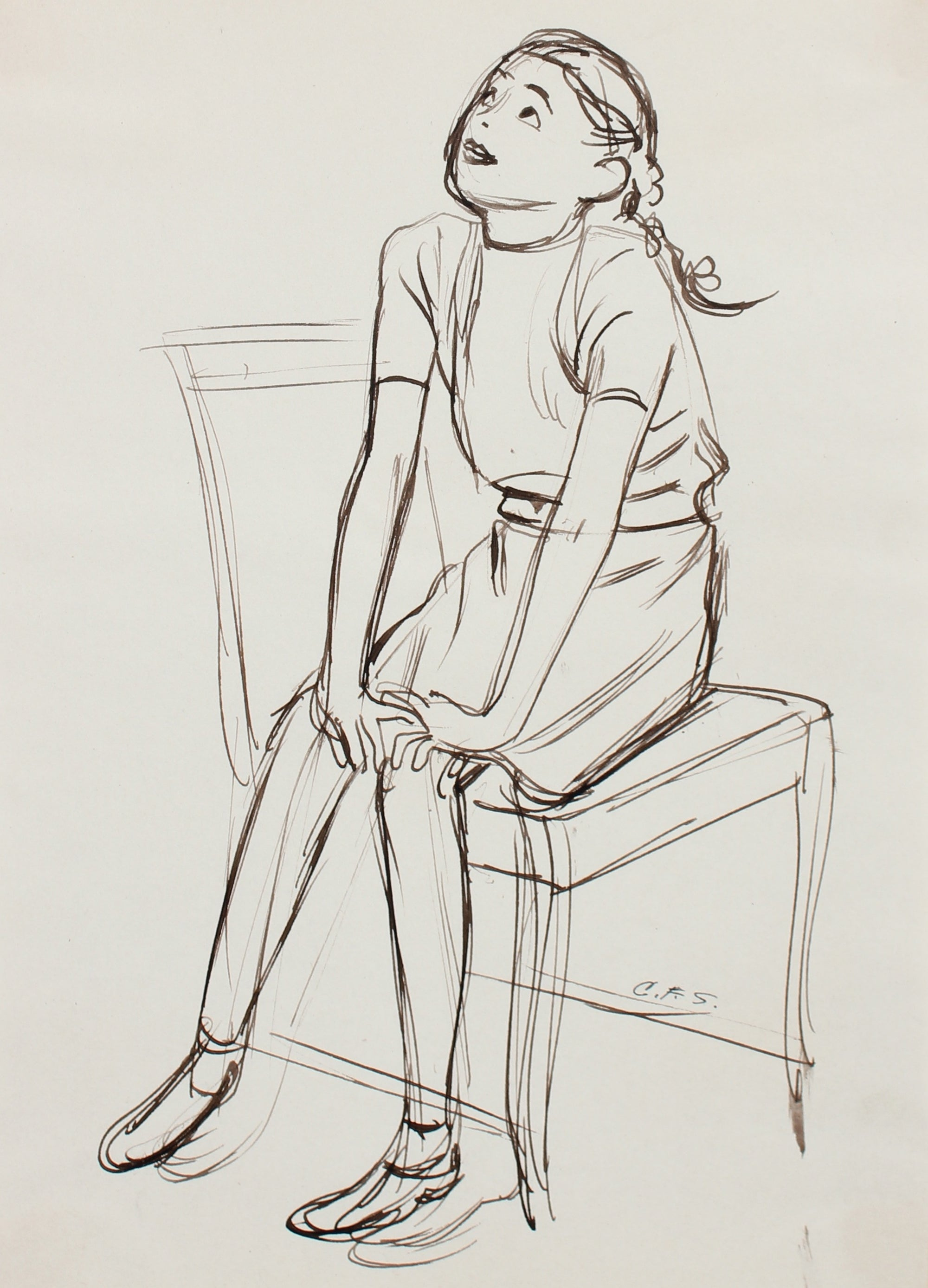 Seated Playful Young Girl <br>1930-40s Ink <br><br>#0012