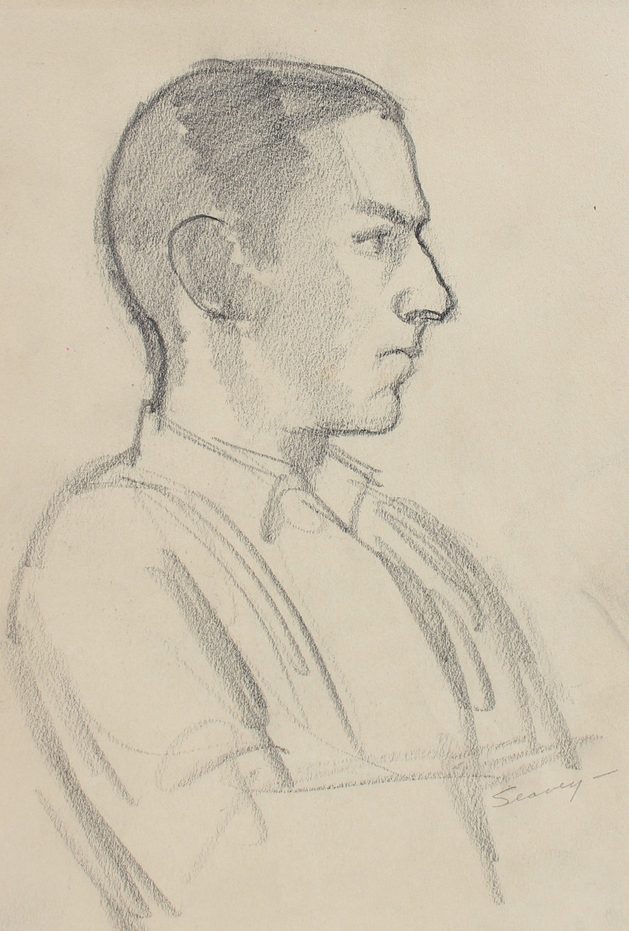 Introspective Male Profile <br>1928-1936 Charcoal <br><br>#9564