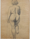 Figurative Study from Behind <br>1920-30s Charcoal <br><br>#9393