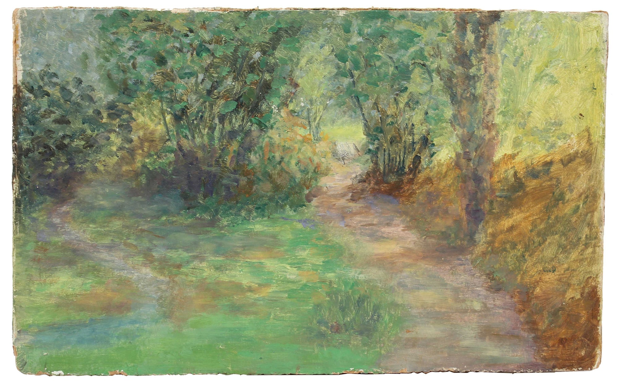 Sun-Dappled Forest Path<br>1900-30s Oil<br><br>#A3517