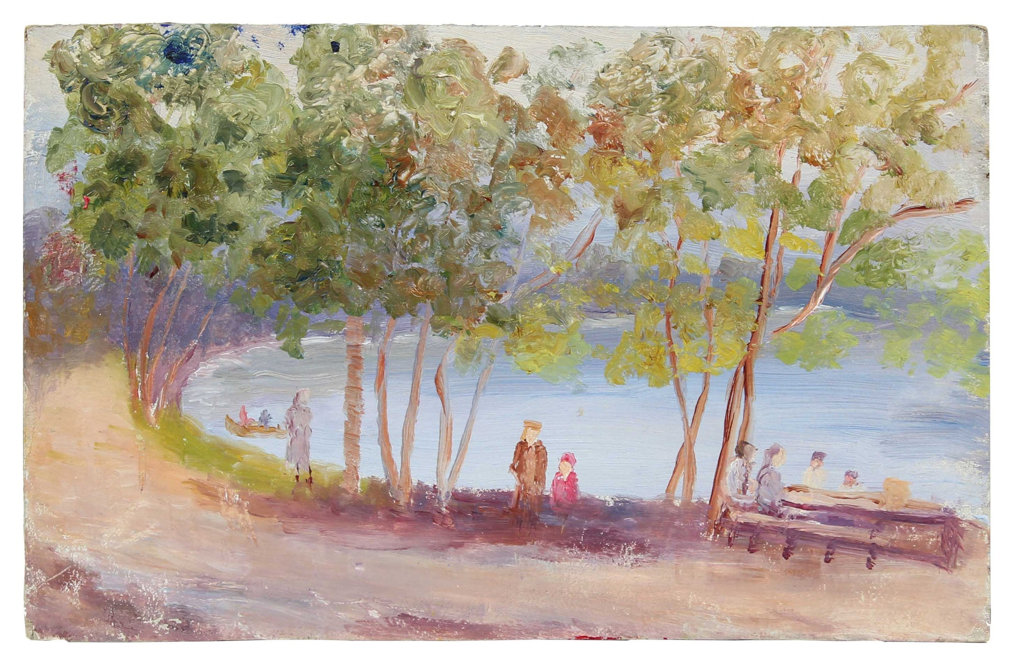 Impressionist Riverside People Scene<br>1900-30s Oil<br><br>#A3529