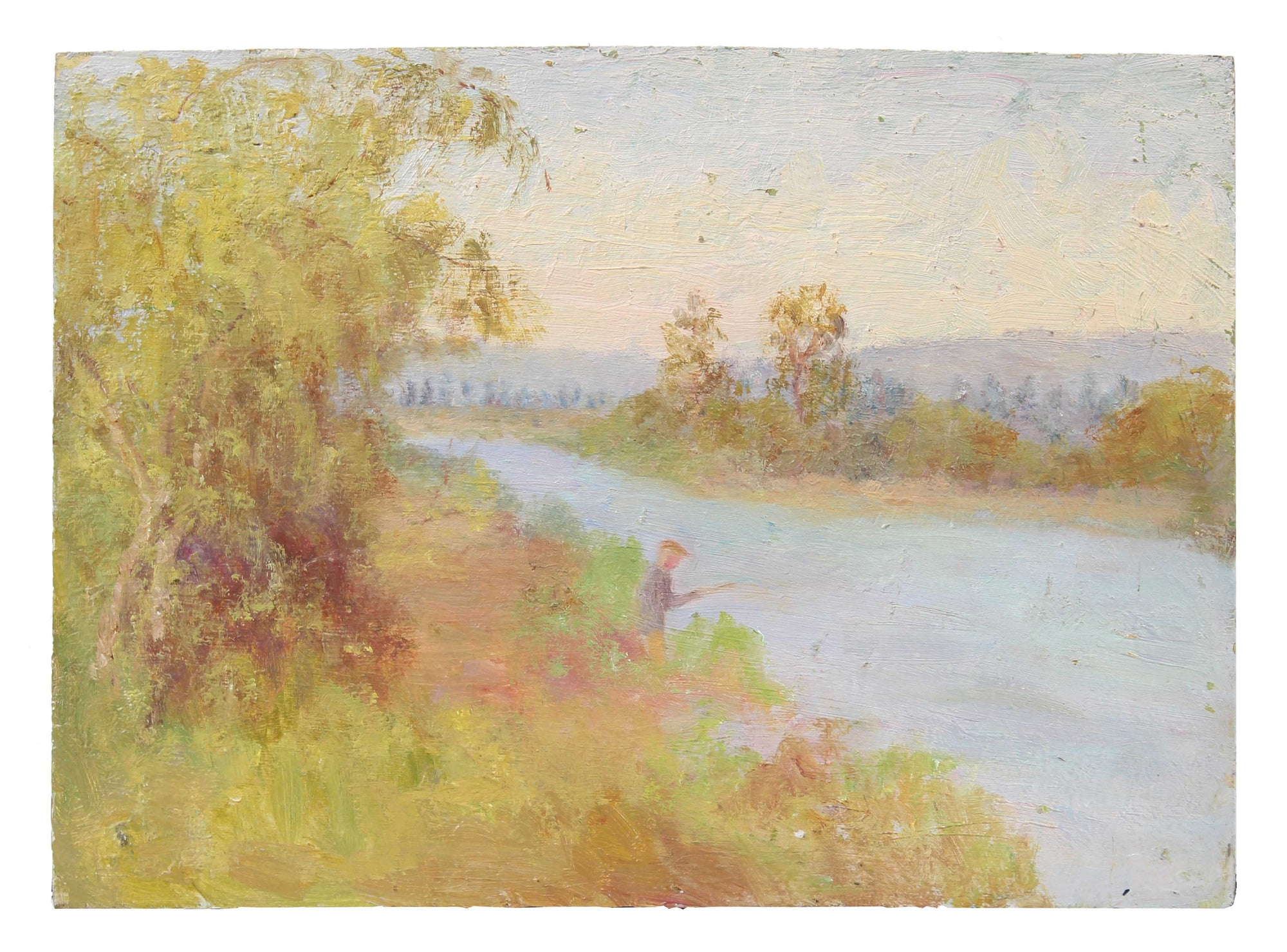 Fishing by the River, Impressionist Scene <br>1900-30s Oil <br><br>#A3533