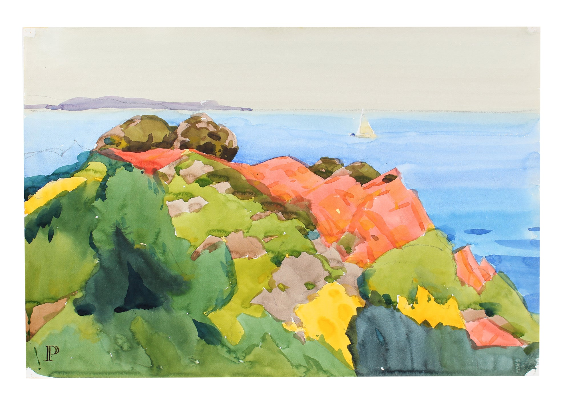 <i>The Lerins Islands</i> <br>20th Century Watercolor <br><br>#A3555