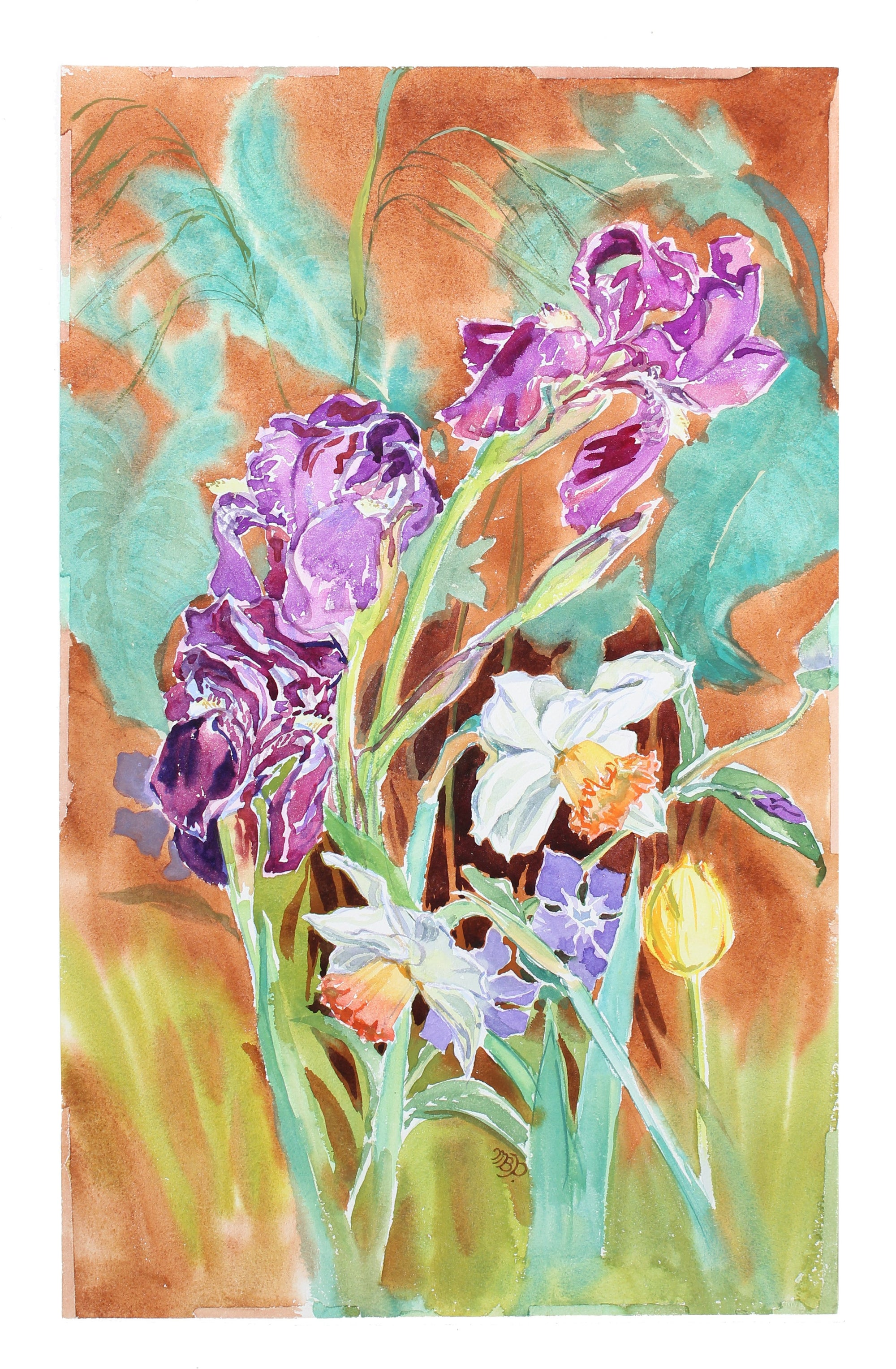 <i>Dancing Spring Flowers</i> <br>1970s Watercolor <br><br>#A3596