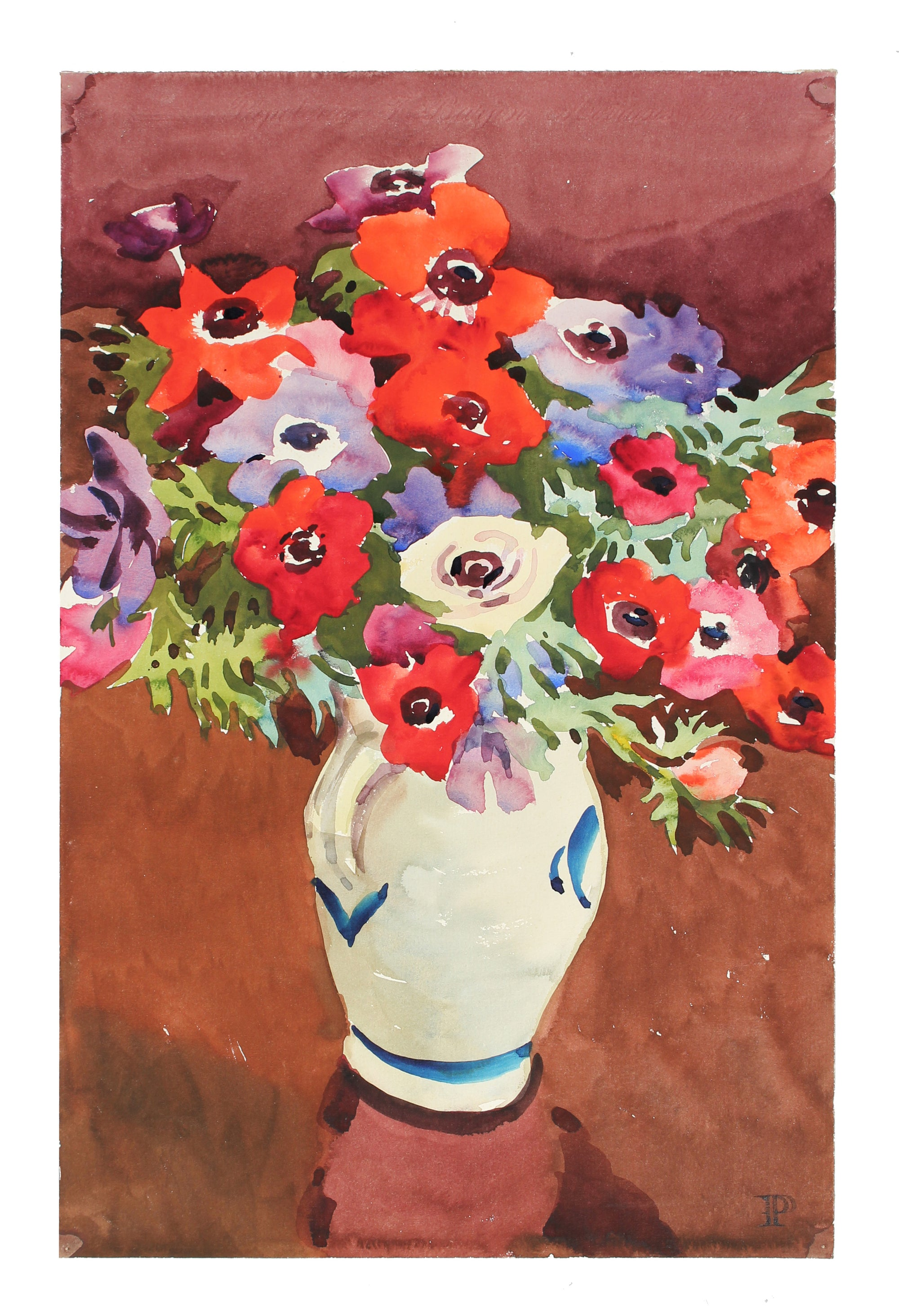 <i>Anemones</i>, Watercolor<br>Mid-Late 20th Century<br><br>#A3597