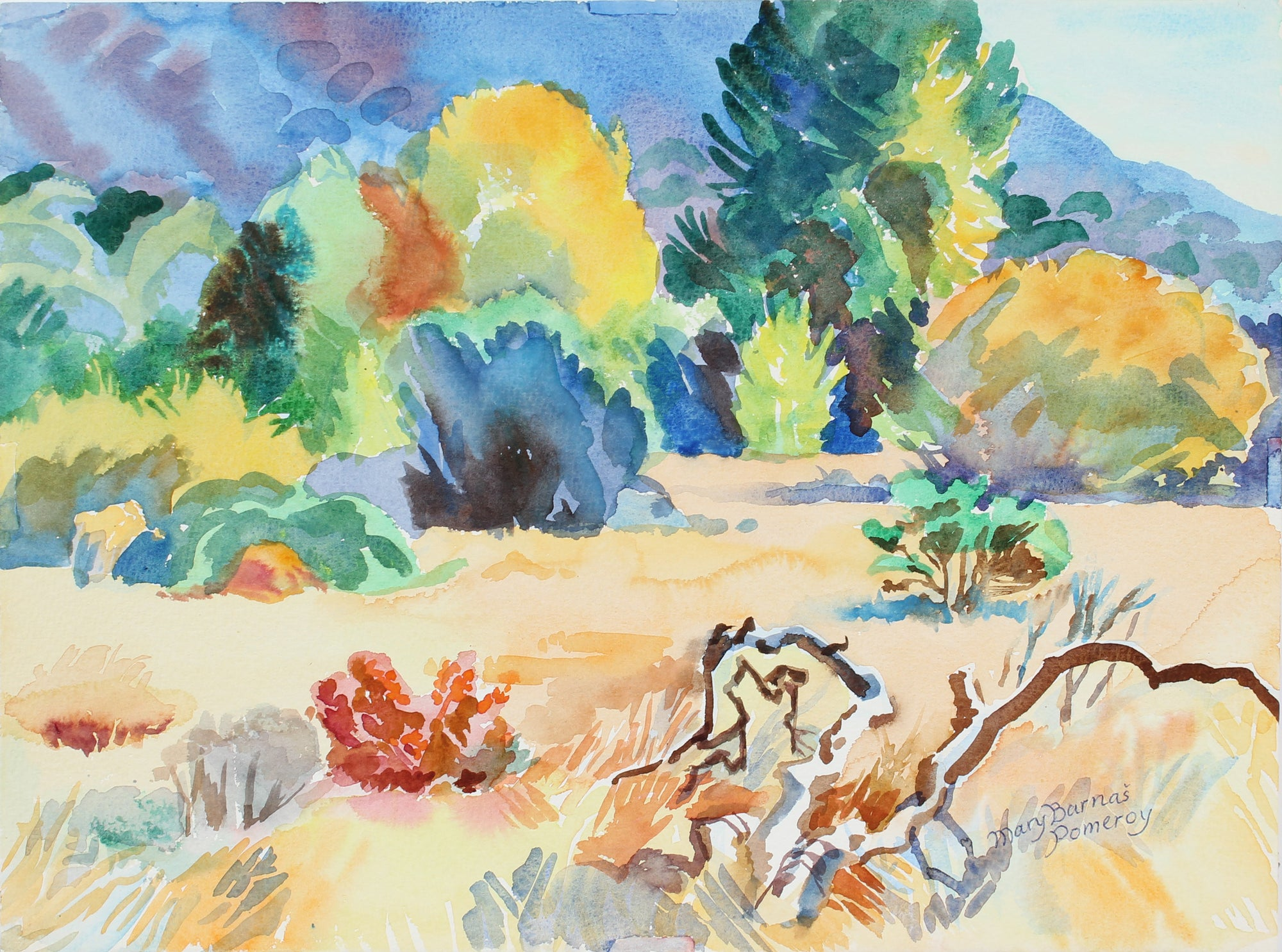 <i>Fall in Garland Park</i> <br>November 1998 Watercolor <br><br>#A3623
