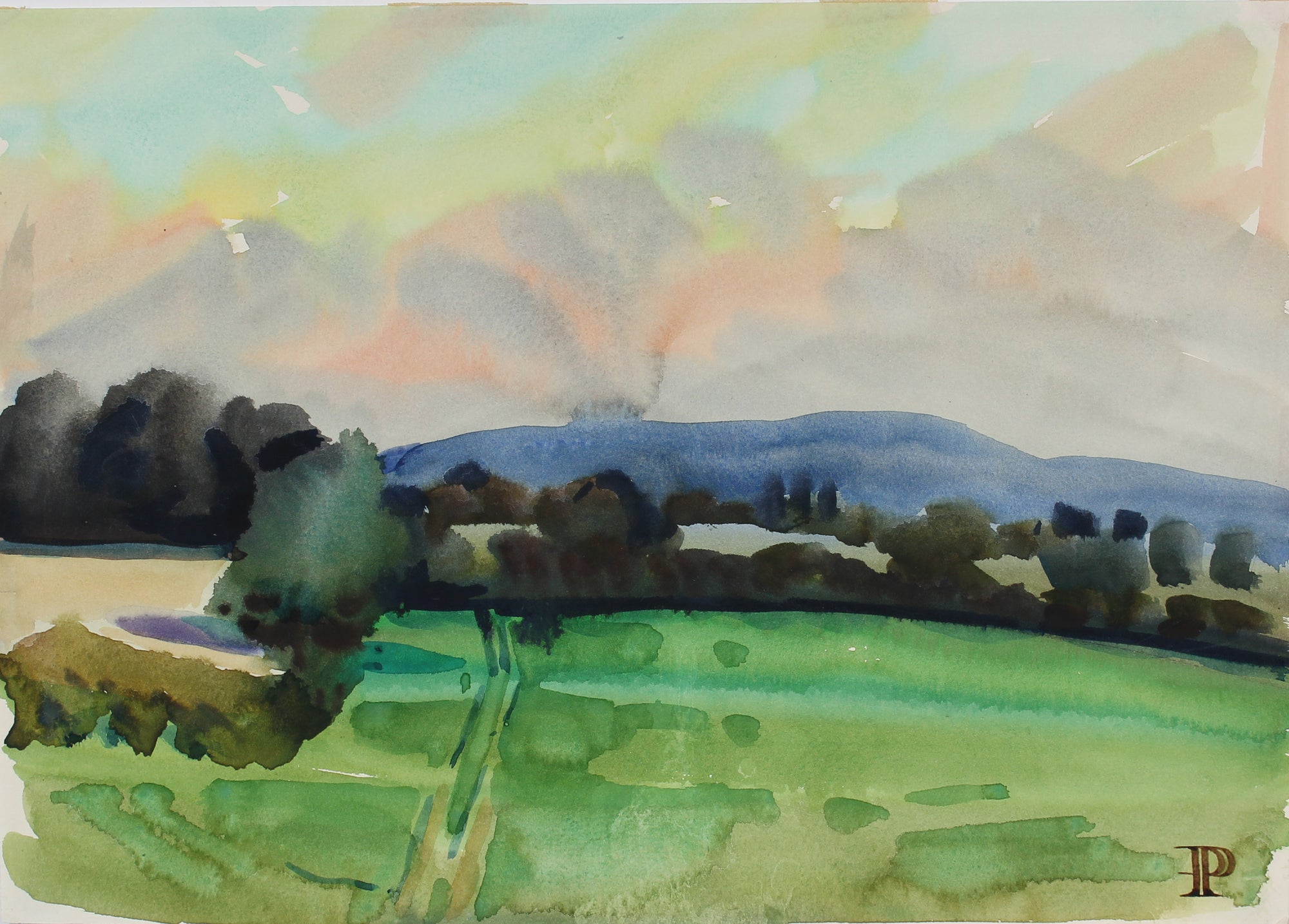 <i>Hereford Landscape</i> <br>1964 Watercolor <br><br>#A3635