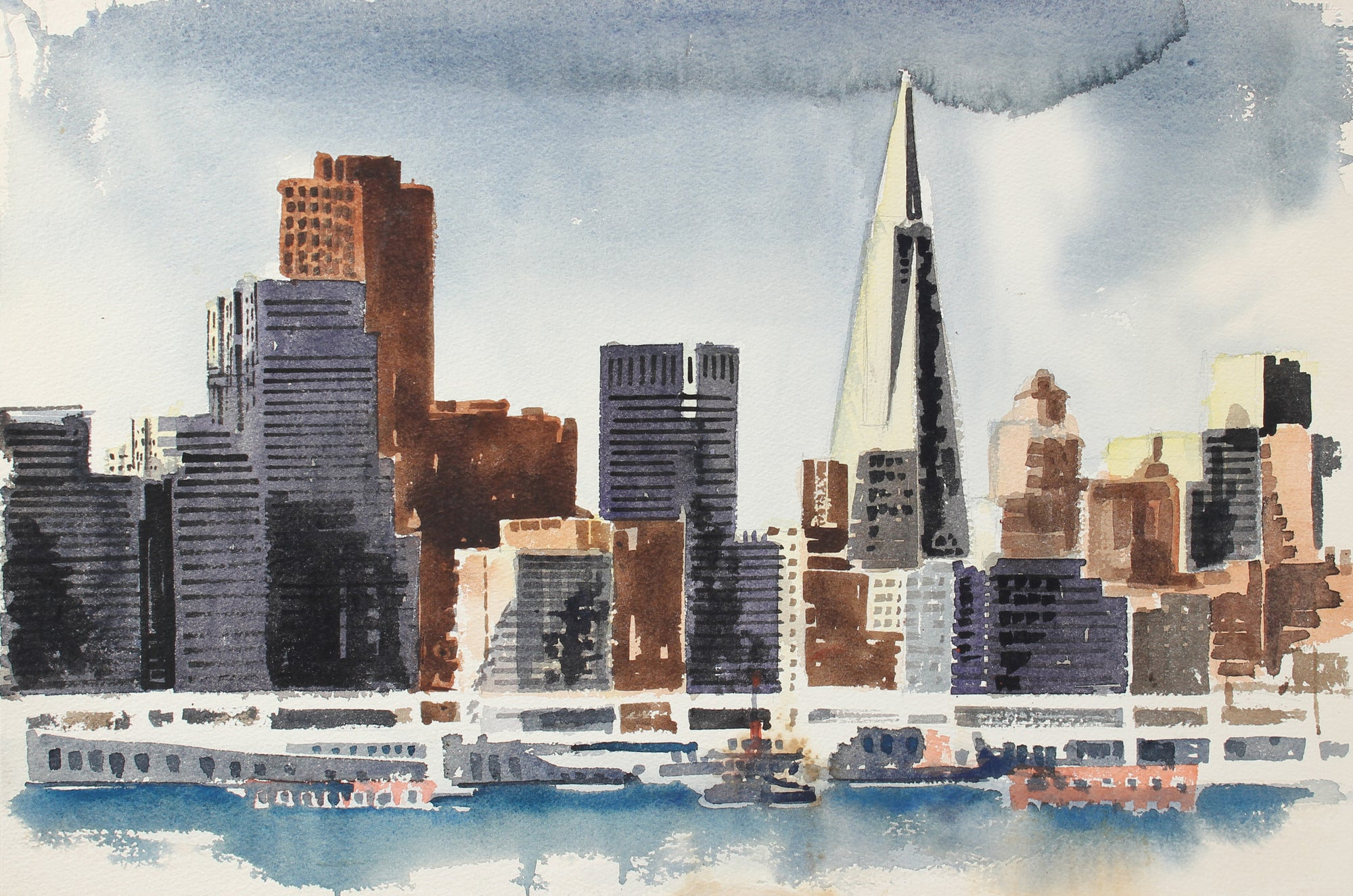 Financial Dist. San Francisco Skyline<br>Late 20th Century Watercolor<br><br>#A3808