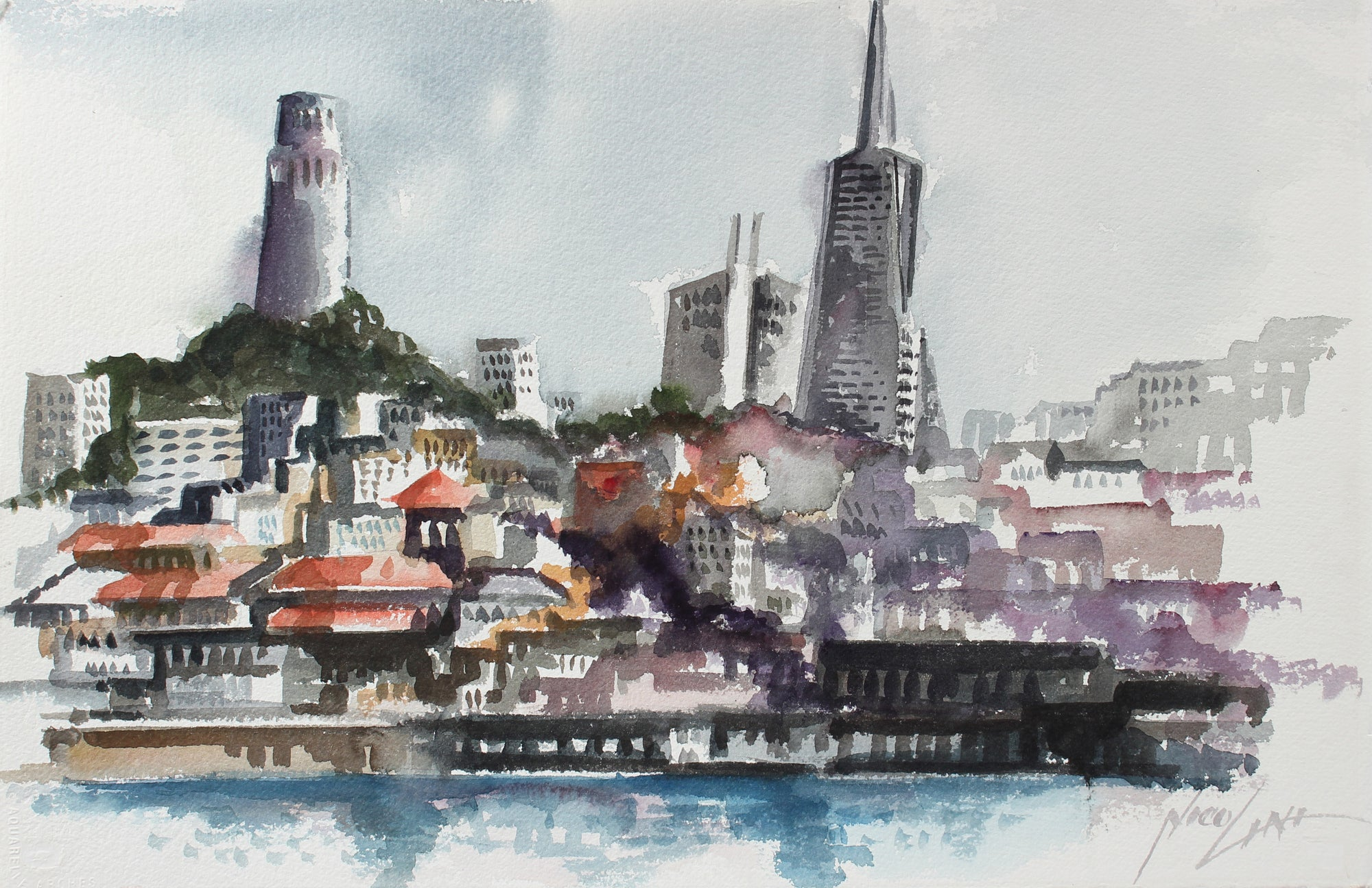 San Francisco Skyline with Coit Tower <br>Late 20th Century Watercolor <br><br>#A3818
