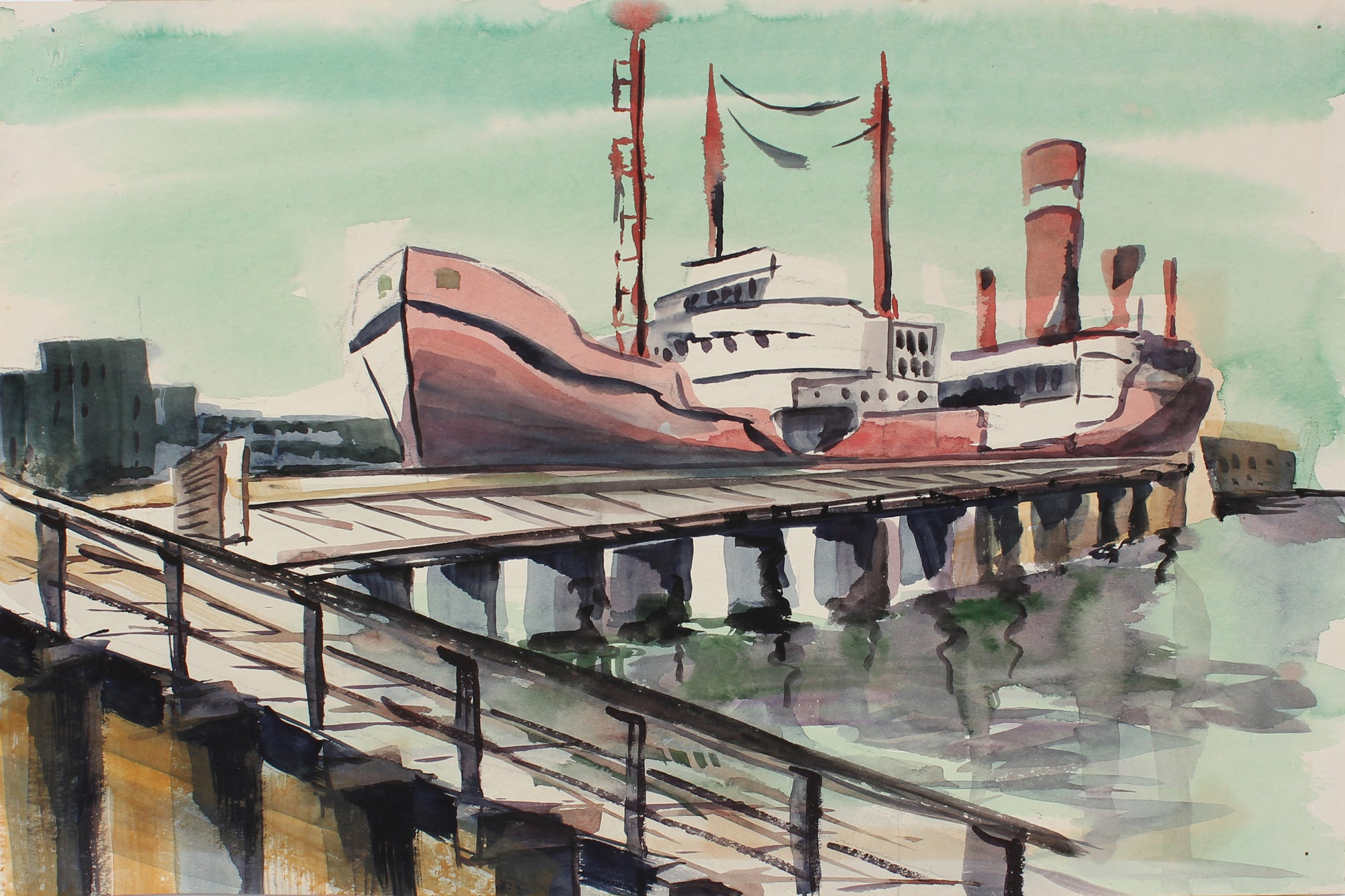 Boat at Harbor<br>Mid Century Watercolor<br><br>#A3860