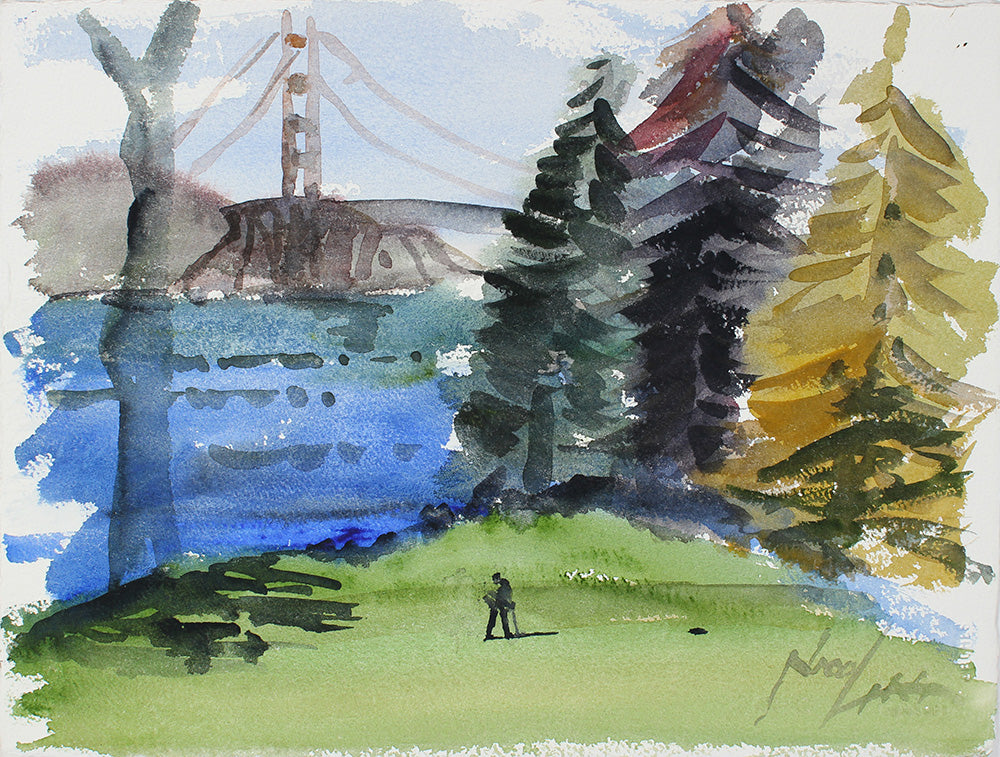 The Golden Gate Bridge from the Park <br>20th Century Watercolor <br><br>#A3864