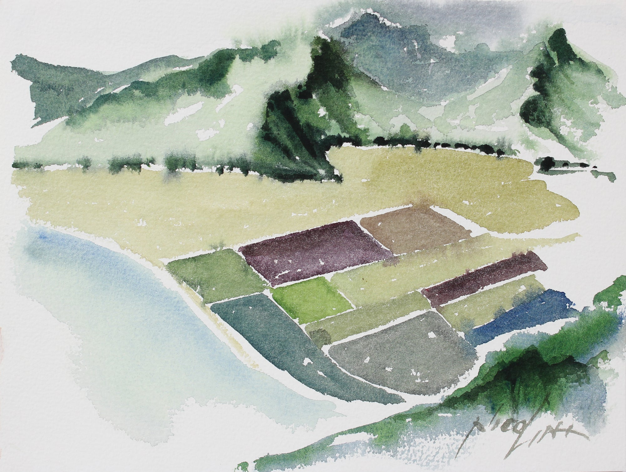 Aerial Landscape Study <br>20th Century Watercolor <br><br>#A3865