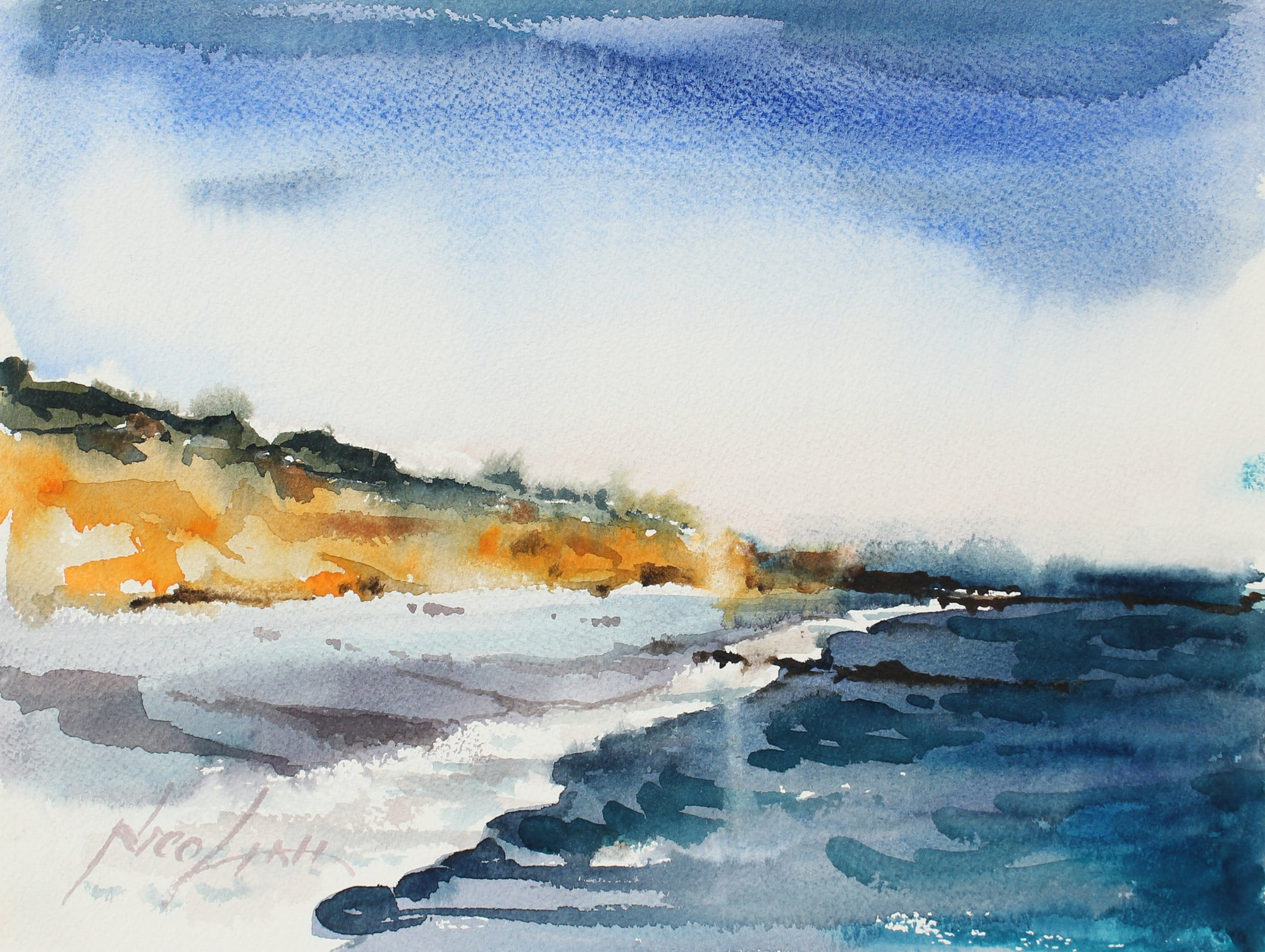 Abstracted Bay Area Coastal Waves <br>Mid-Late 20th Century Watercolor <br><br>#A3867