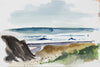 Abstracted California Coast <br>Mid-Late 20th Century Watercolor <br><br>#A3868