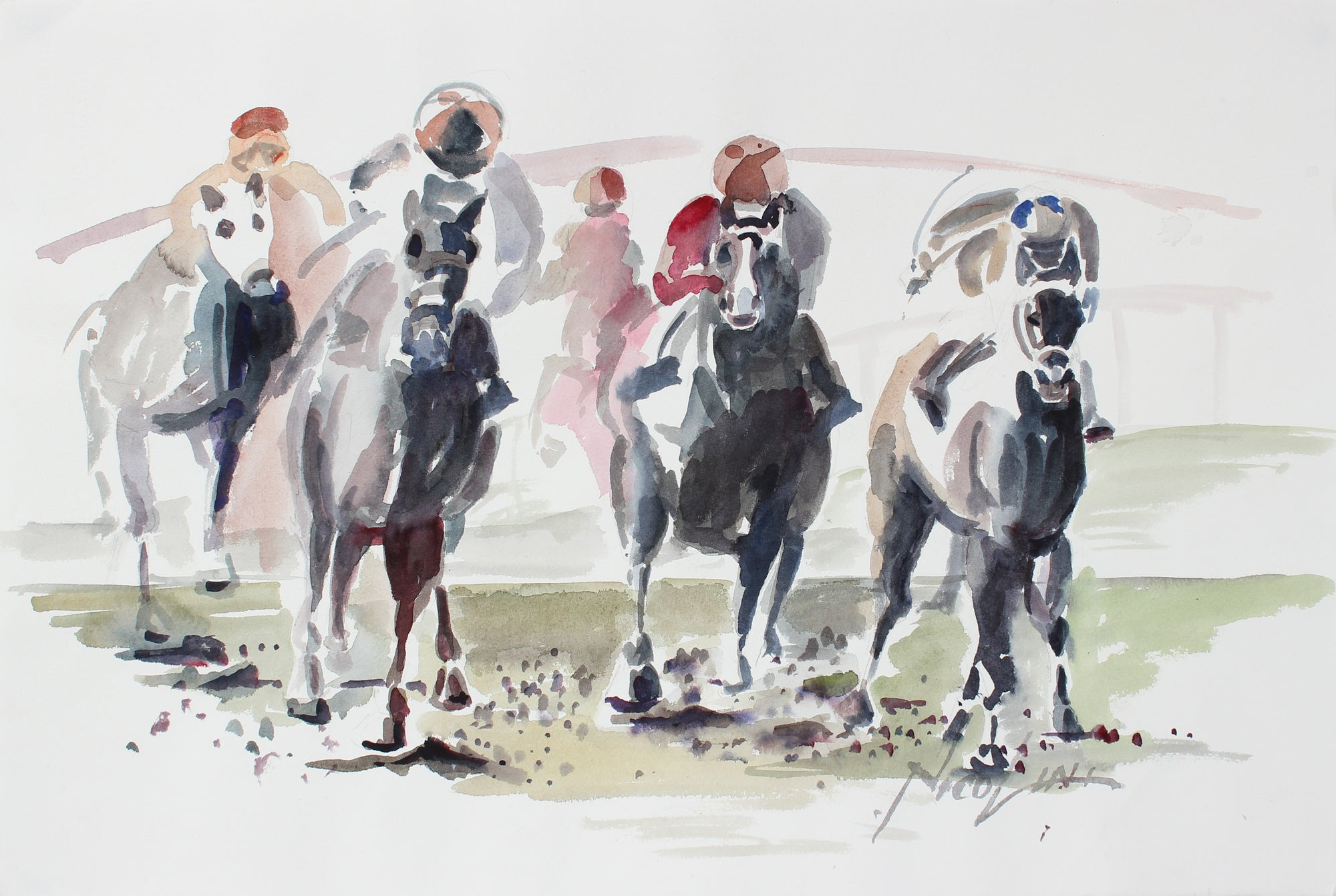 At the Races <br>Late 20th Century Watercolor <br><br>#A3870