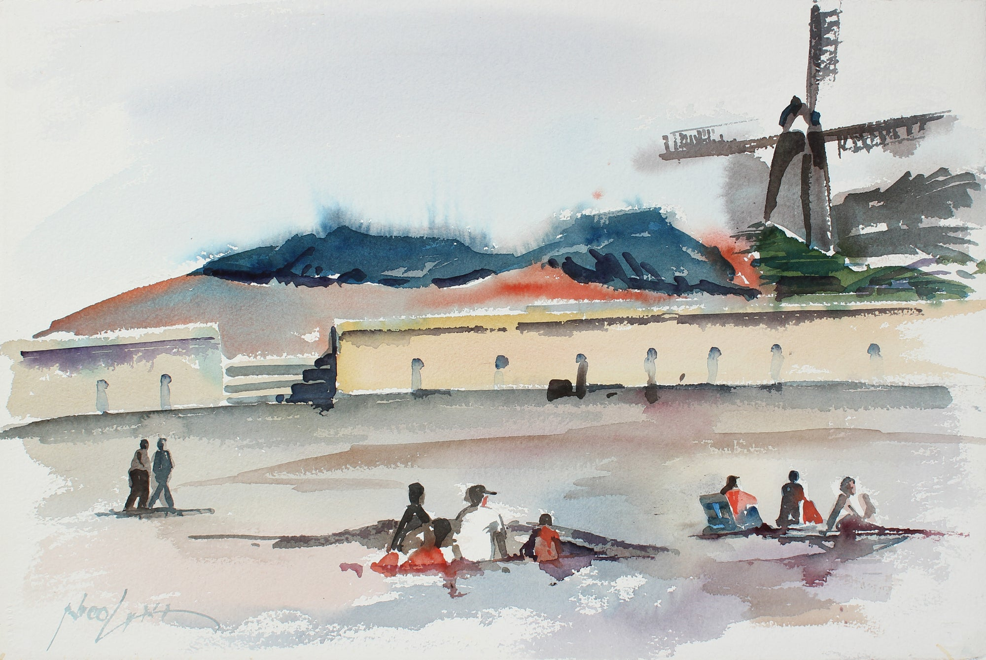 Windmill at the Beach - San Francisco <br>20th Century Watercolor <br><br>#A3874